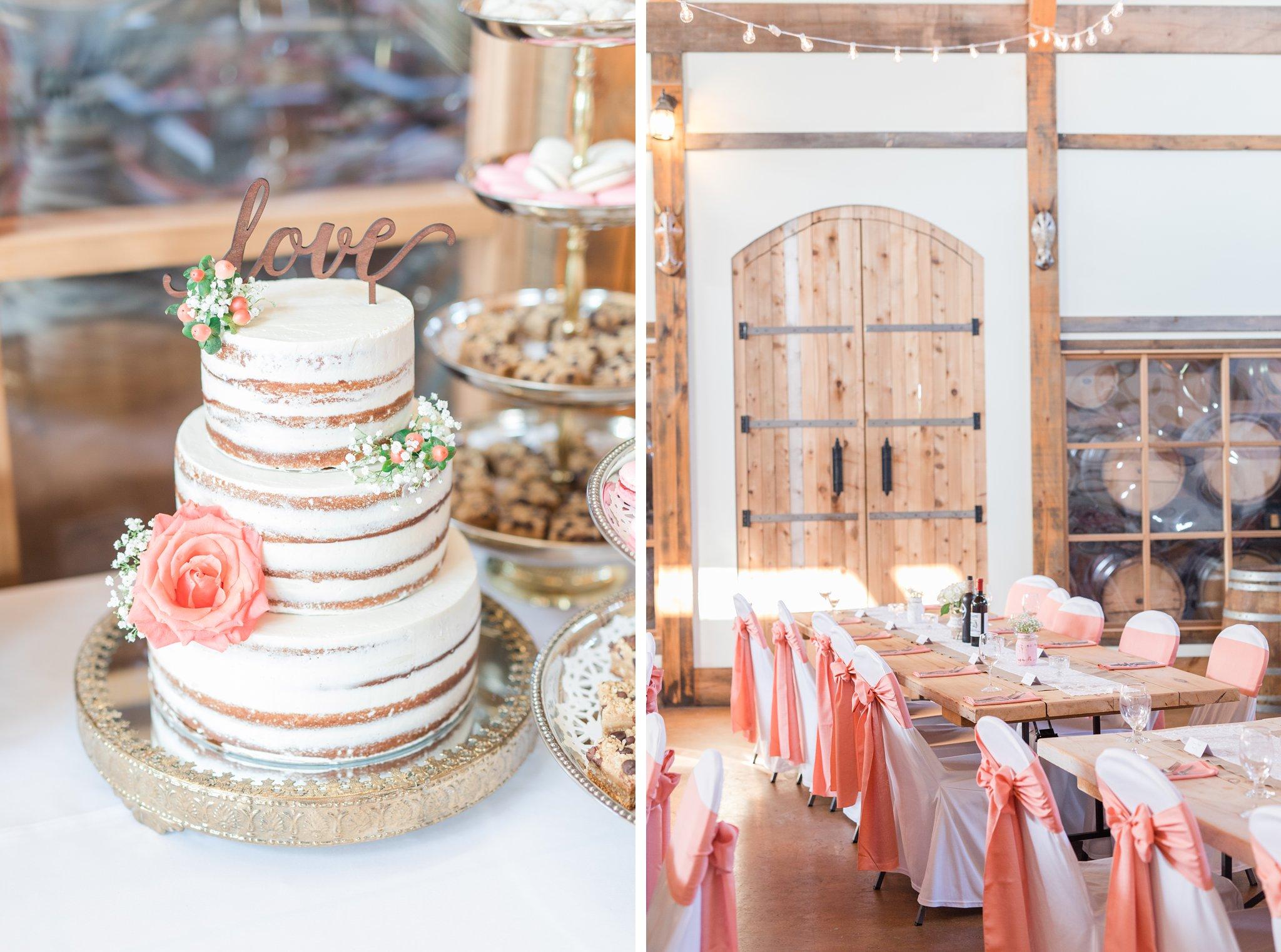 3 tiered naked wedding cake Vineyard wedding at Jabulani Amy Pinder Photography