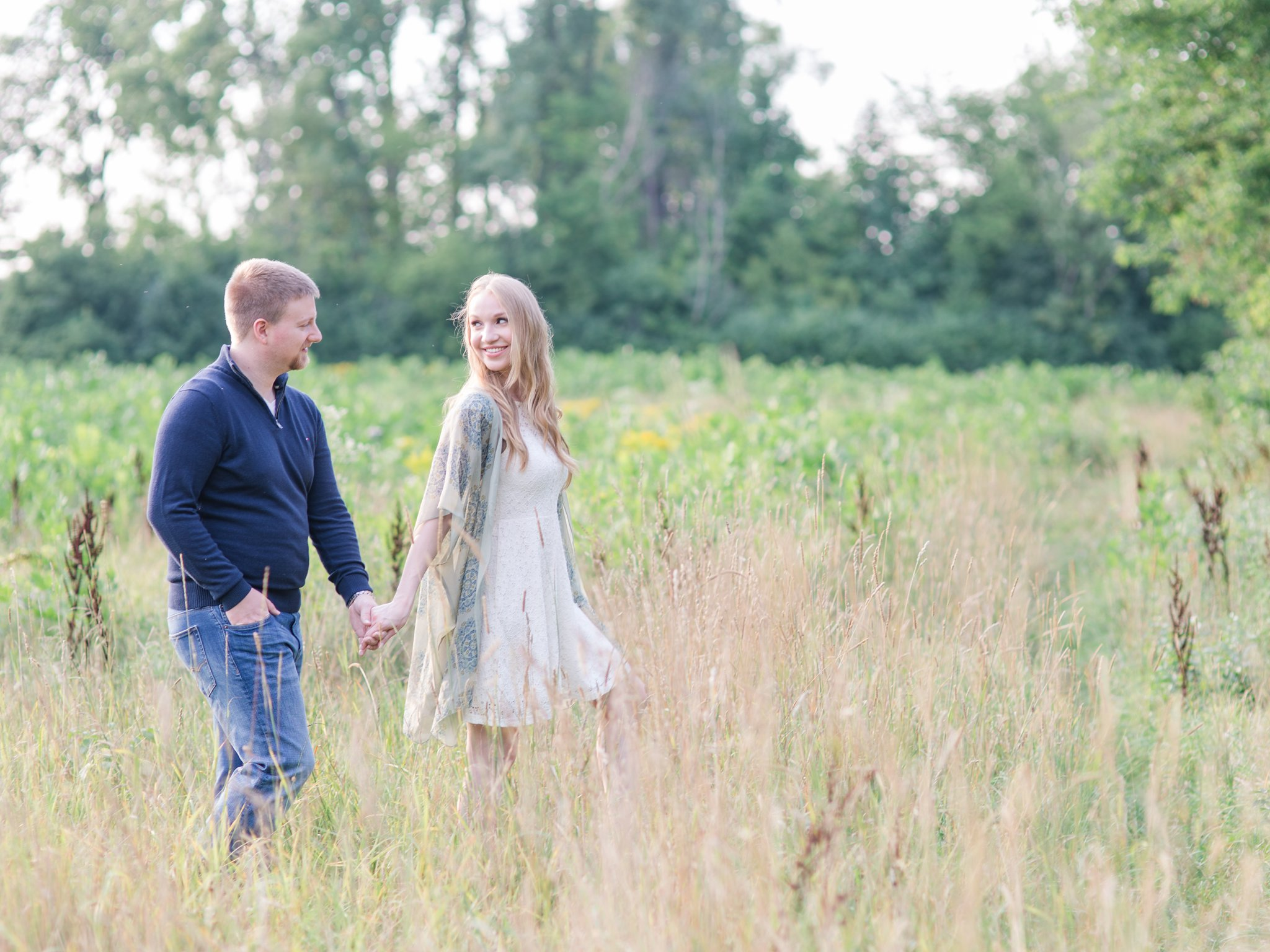 Open field in Westboro Keg Manor engagement photos Amy Pinder Photography