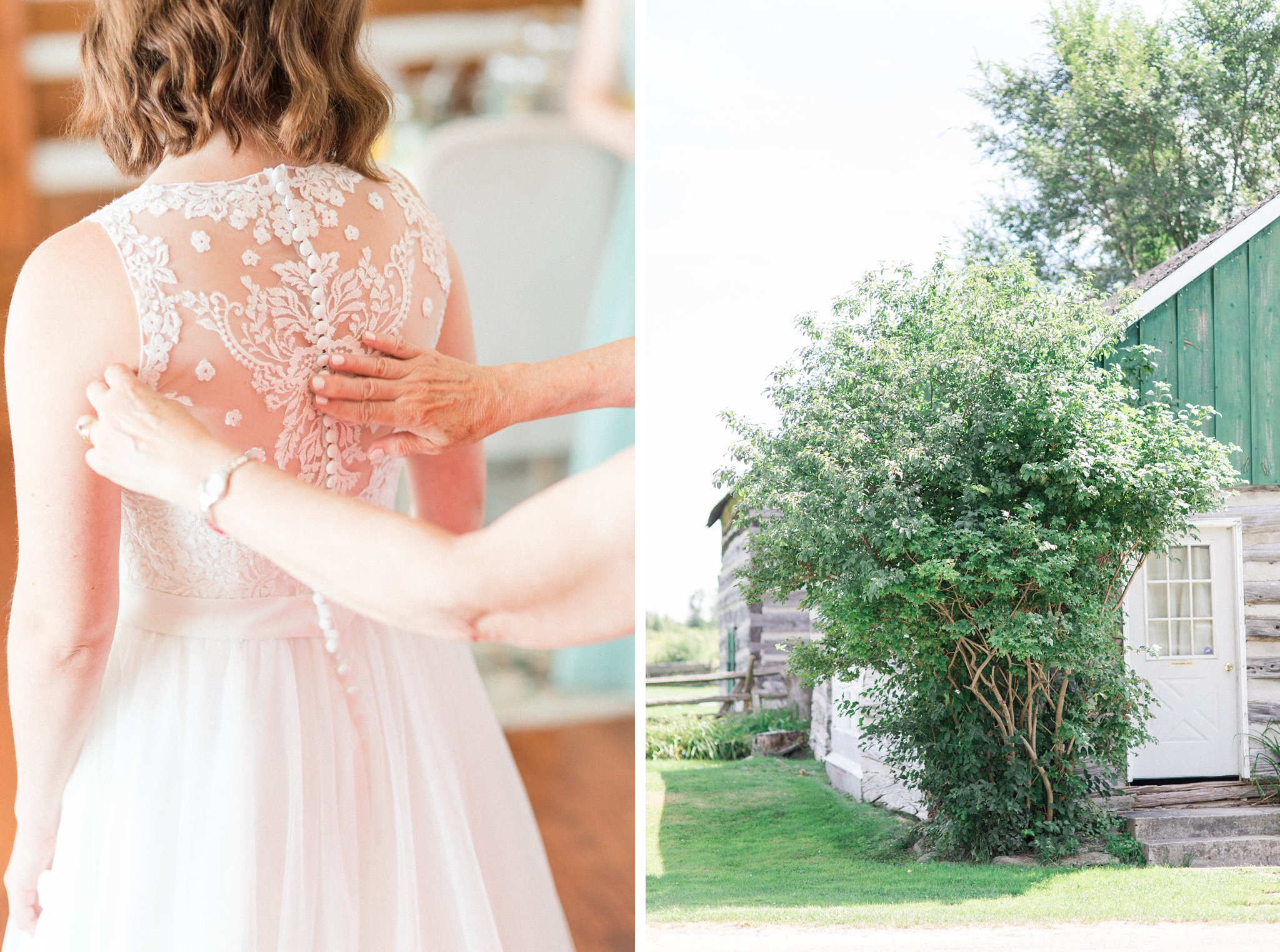 Lace back dress Dog-friendly wedding venue Ottawa Stonefields Amy Pinder Photography