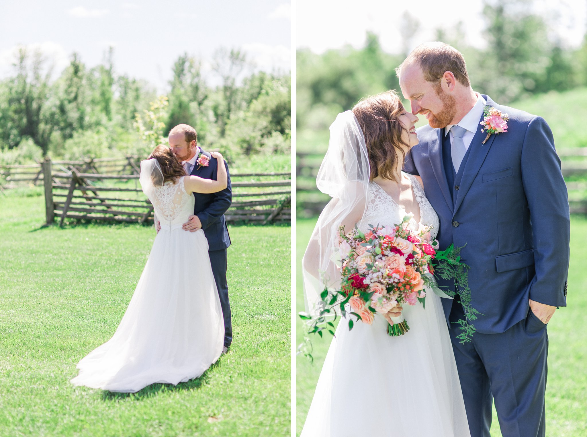 Lace back dres Dog-friendly wedding venue Ottawa Stonefields Amy Pinder Photography