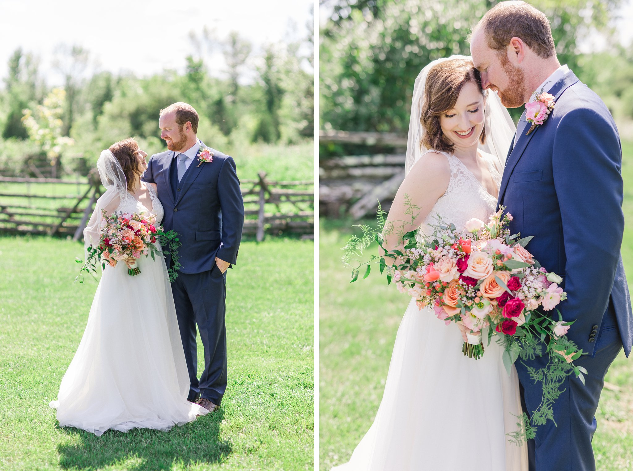 Pink peach bouquet Dog-friendly wedding venue Ottawa Stonefields Amy Pinder Photography