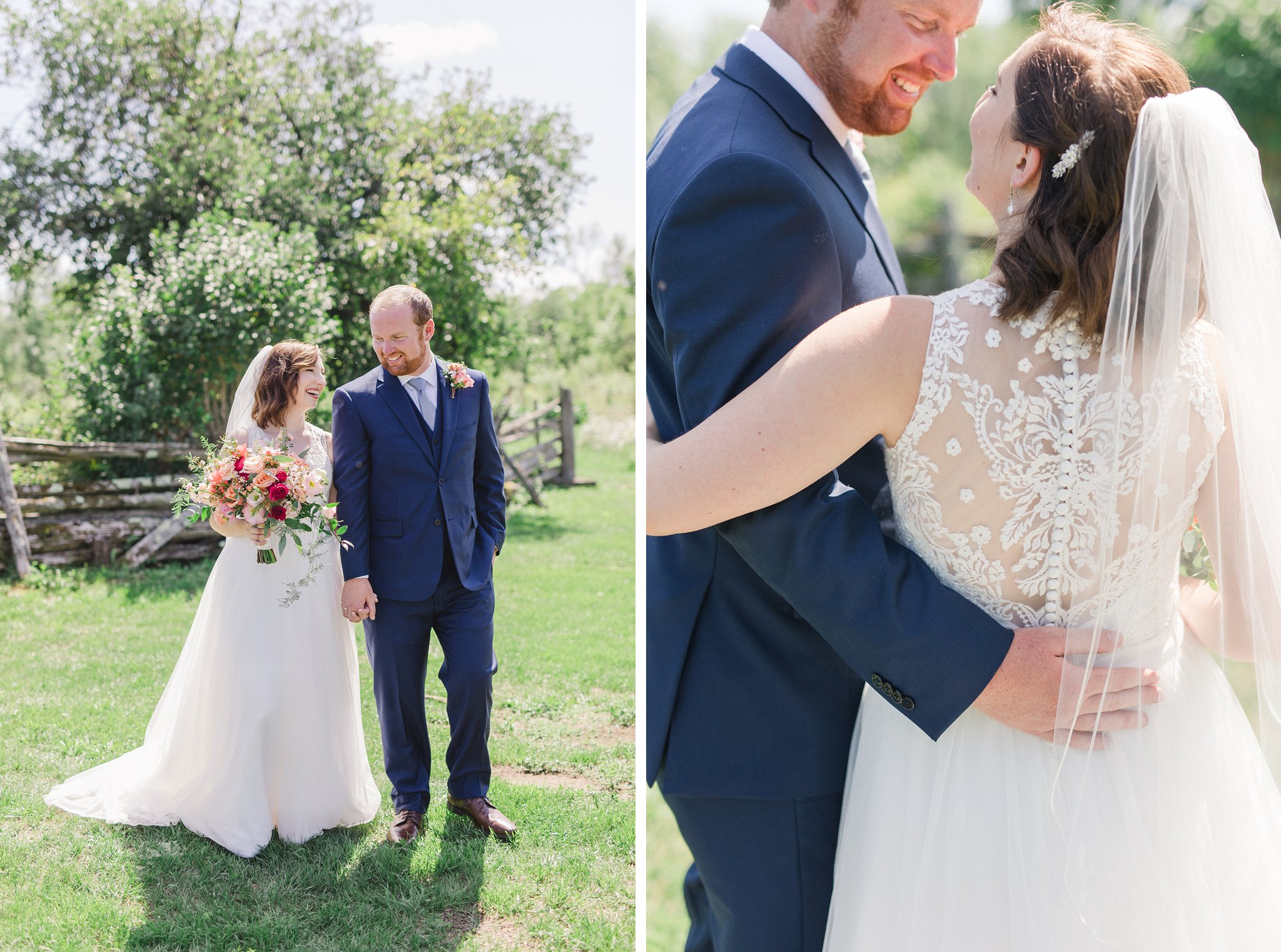Full lace back satin buttons Dog-friendly wedding venue Ottawa Stonefields Amy Pinder Photography