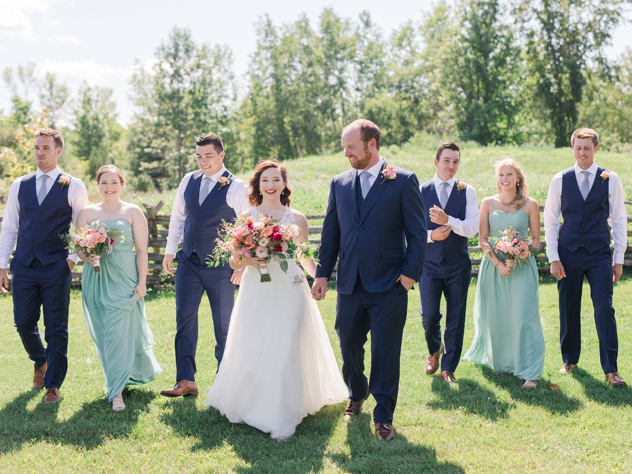 Bridal party in field Dog-friendly wedding venue Ottawa Stonefields Amy Pinder Photography