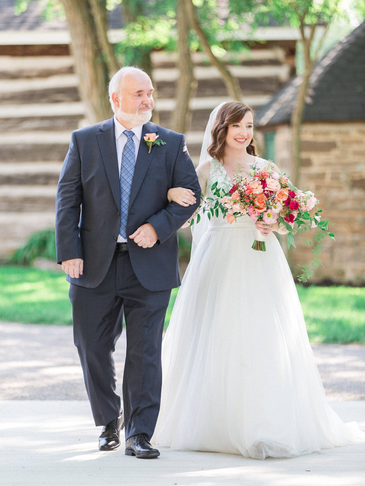 Father walking bride down the aisle Dog-friendly wedding venue Ottawa Stonefields Amy Pinder Photography