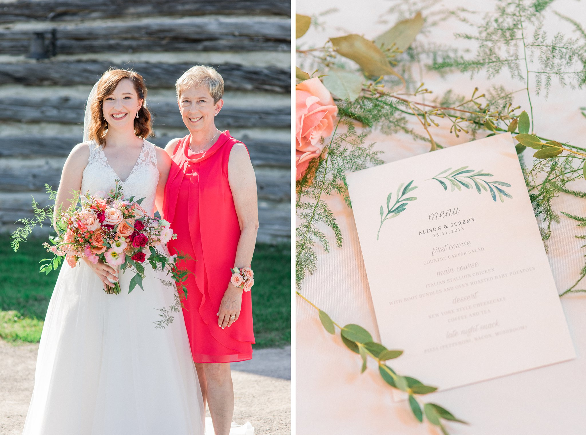 Custom dinner menu Dog-friendly wedding venue Ottawa Stonefields Amy Pinder Photography