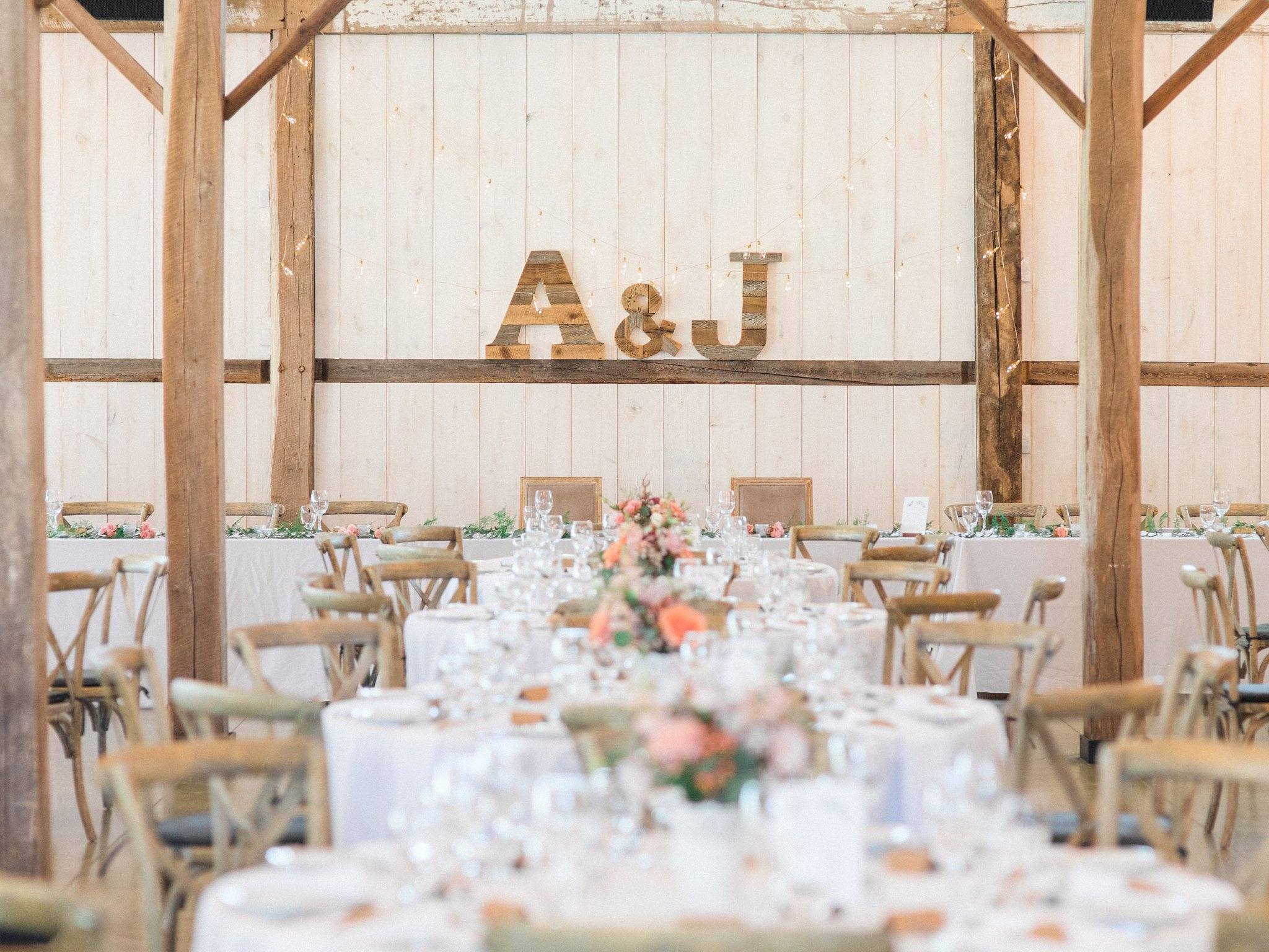 Wooden letters over headtable Dog-friendly wedding venue Ottawa Stonefields Amy Pinder Photography
