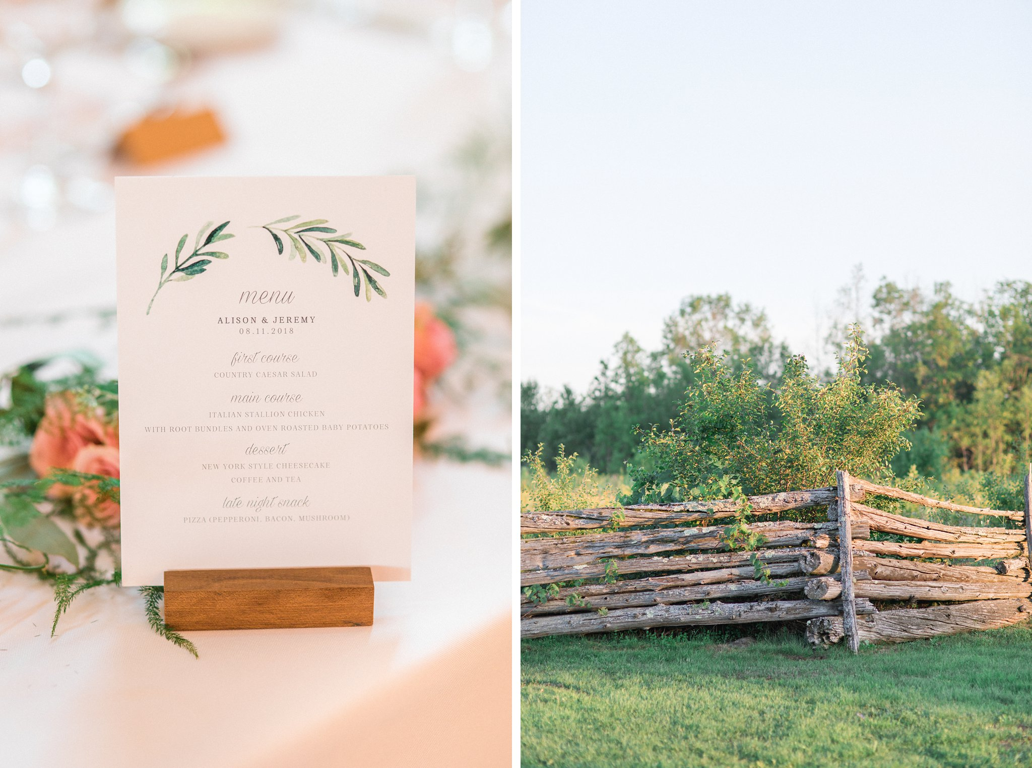 Custom wedding dinner menu Dog-friendly wedding venue Ottawa Stonefields Amy Pinder Photography