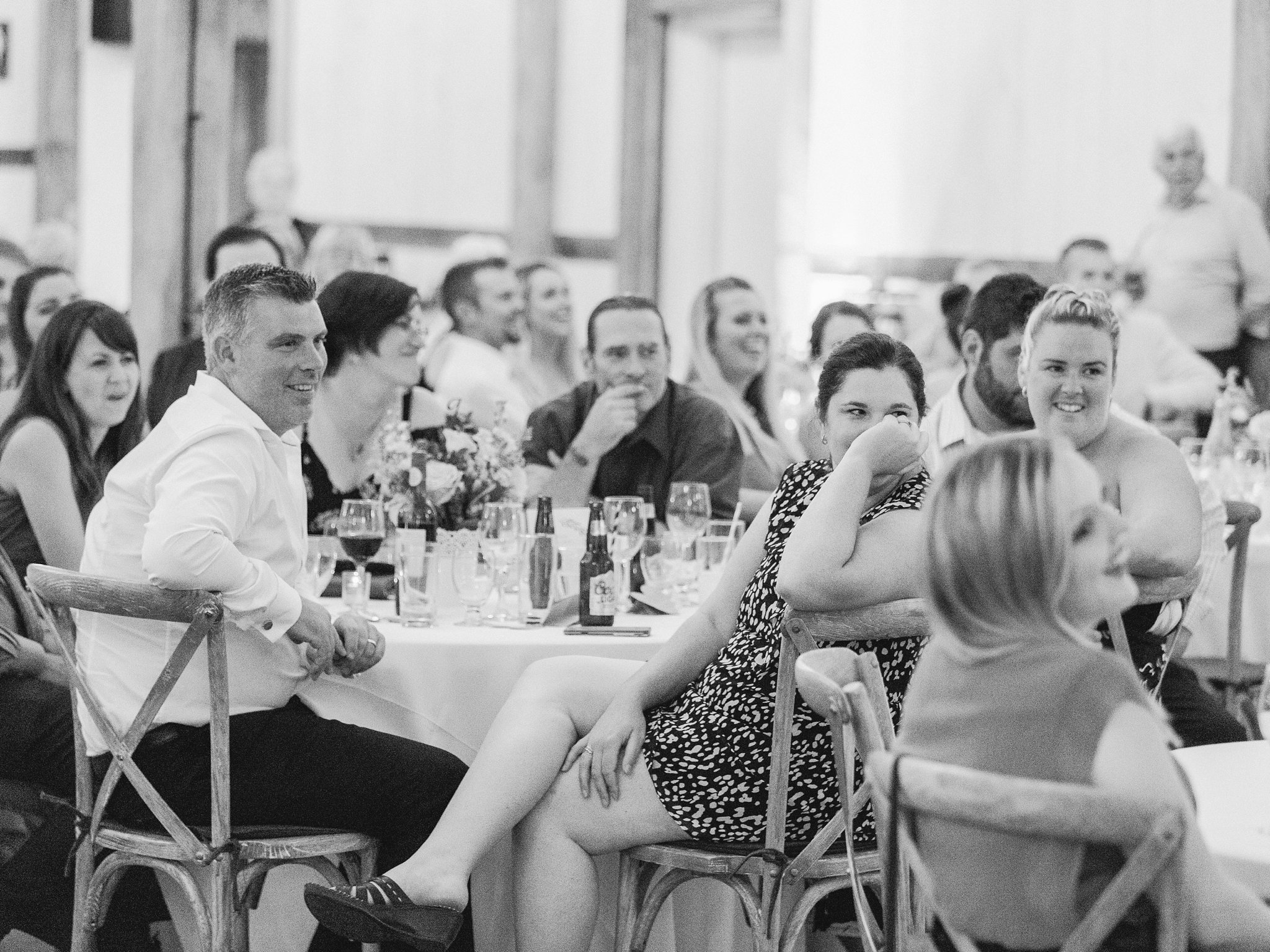 Guests watching shoe game Dog-friendly wedding venue Ottawa Stonefields Amy Pinder Photography