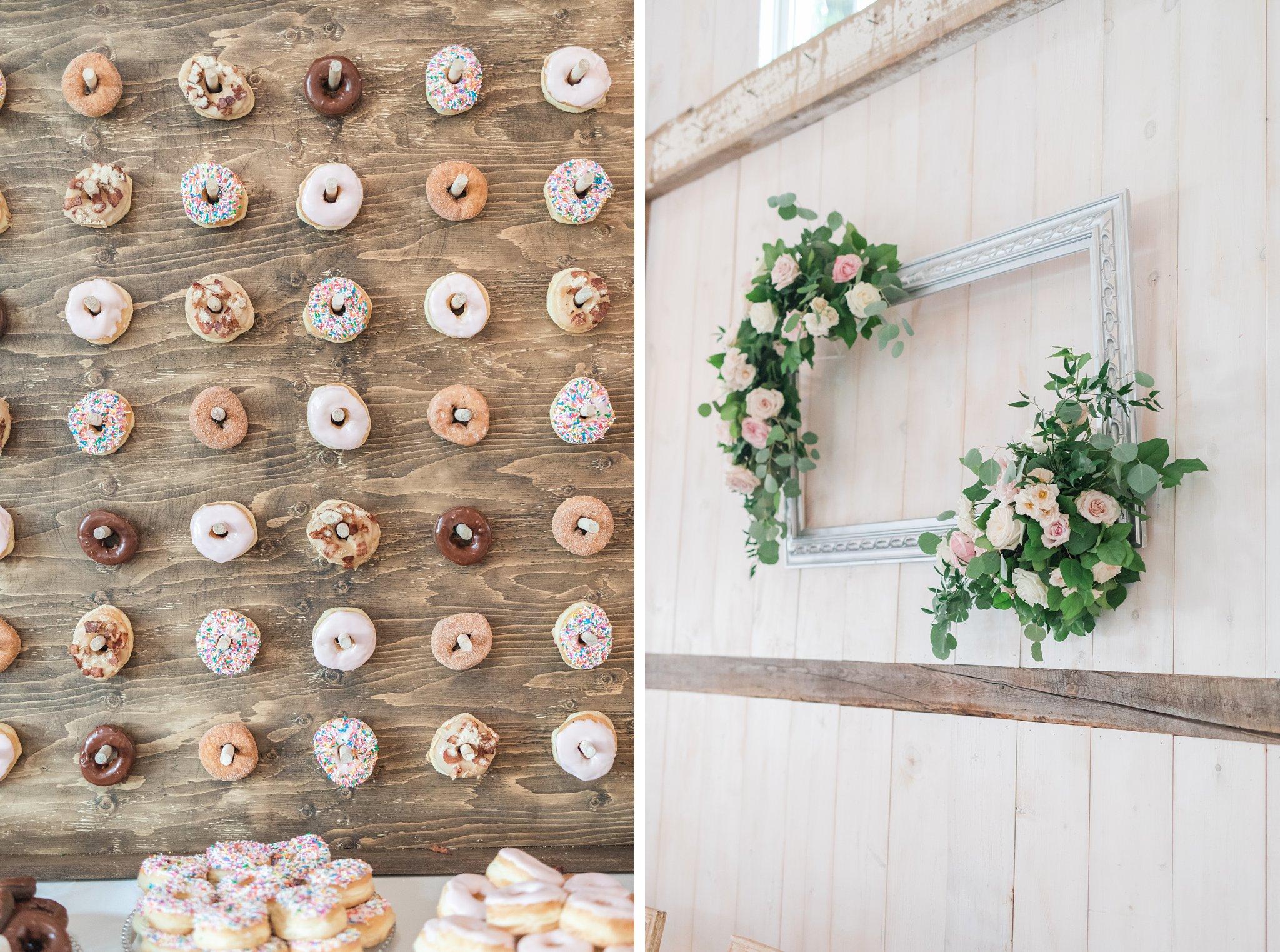 Best dessert idea donut wall Stonefields Loft Wedding Photos with Hundreds of Blooms