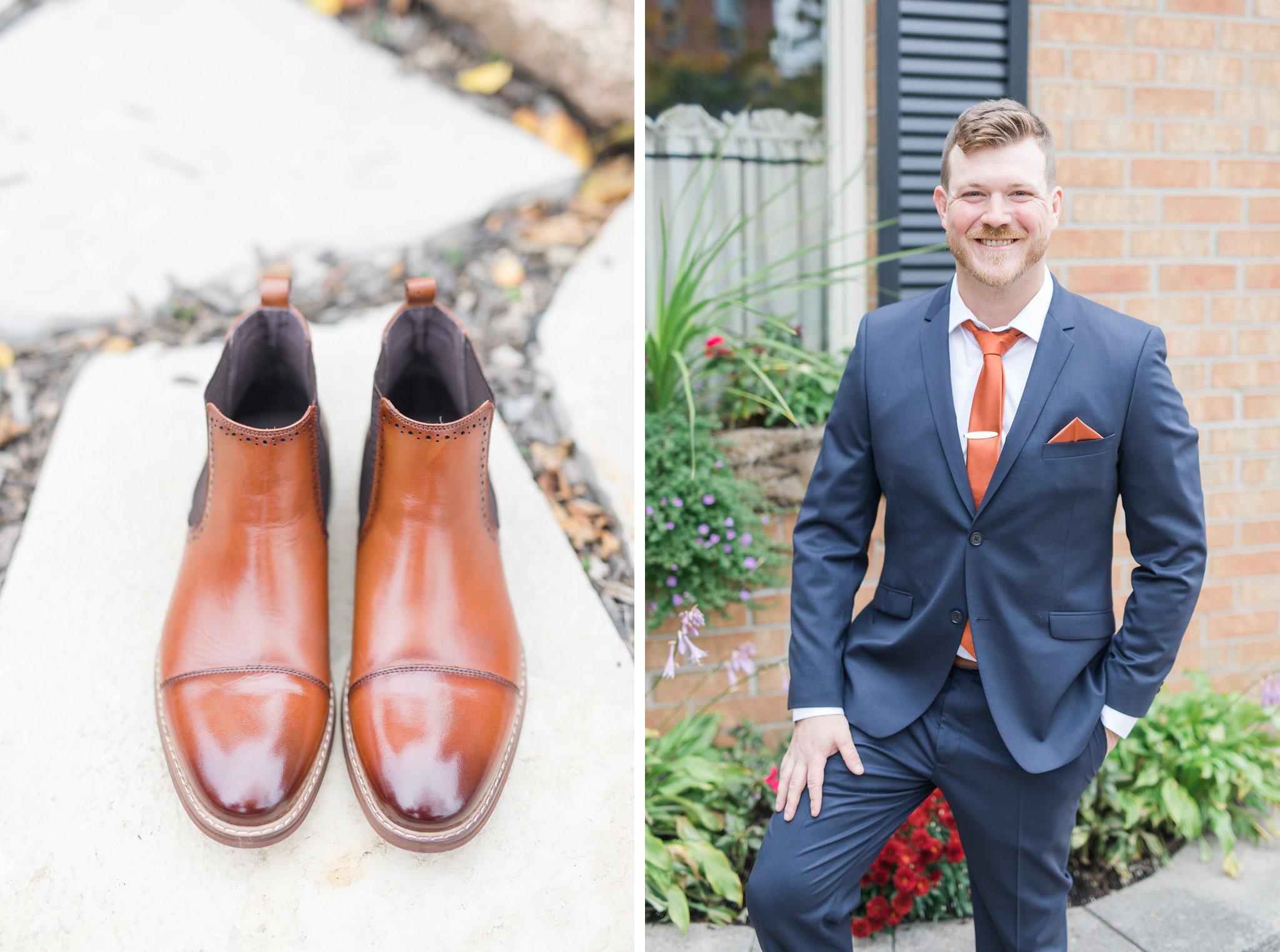 Groom's fall boots Fall Wedding Photos Ottawa Mill Street Brew Pub