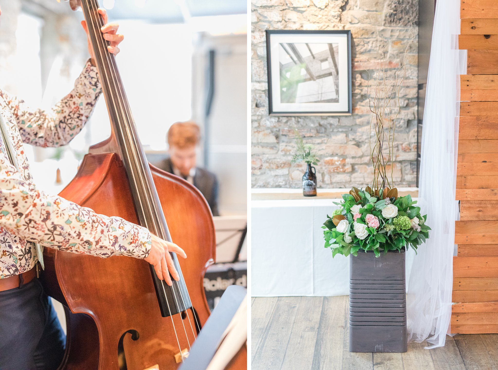 Live cello music for ceremony Fall Wedding Photos Ottawa Mill Street Brew Pub