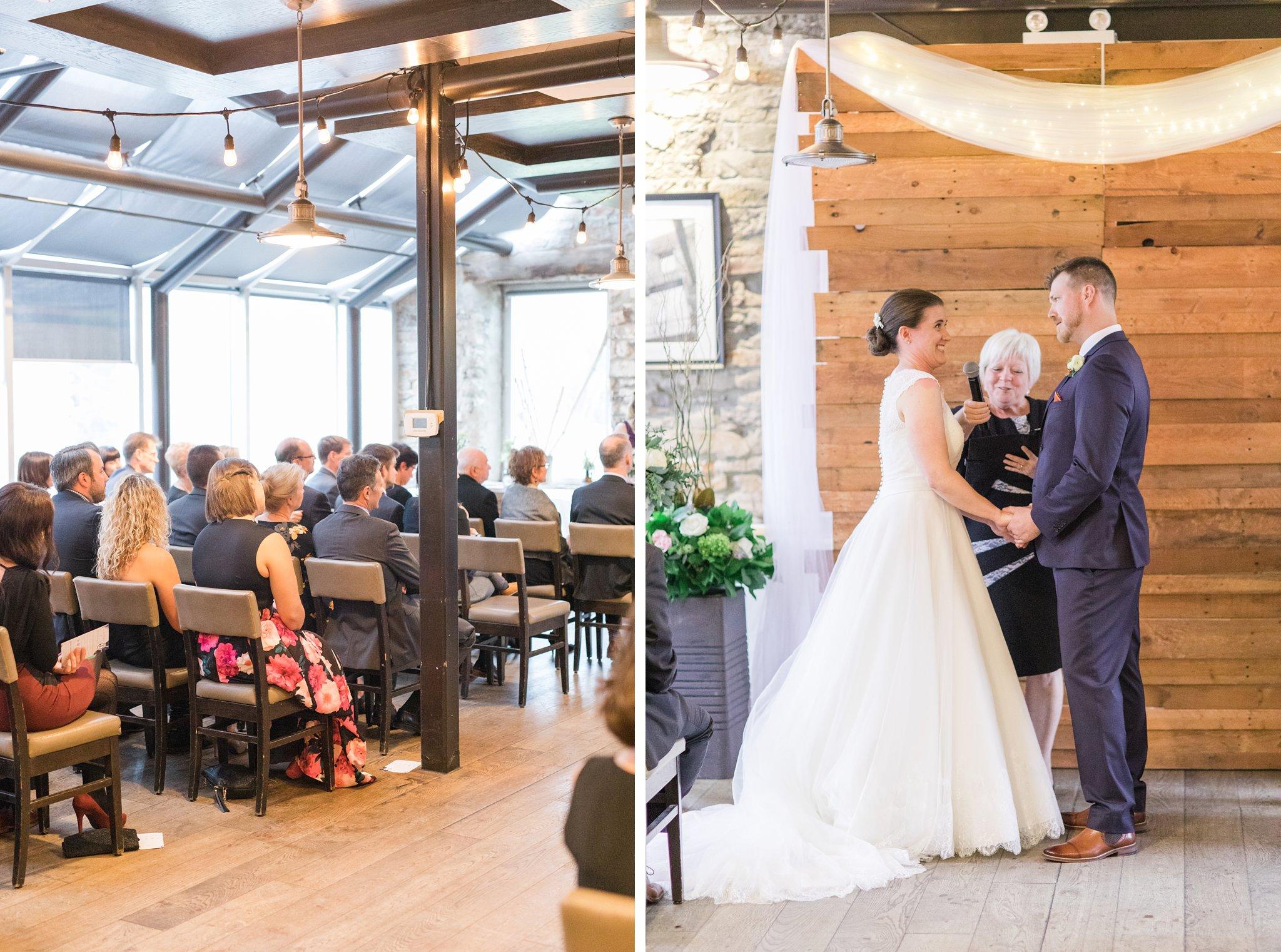 Upstairs ceremony Fall Wedding Photos Ottawa Mill Street Brew Pub