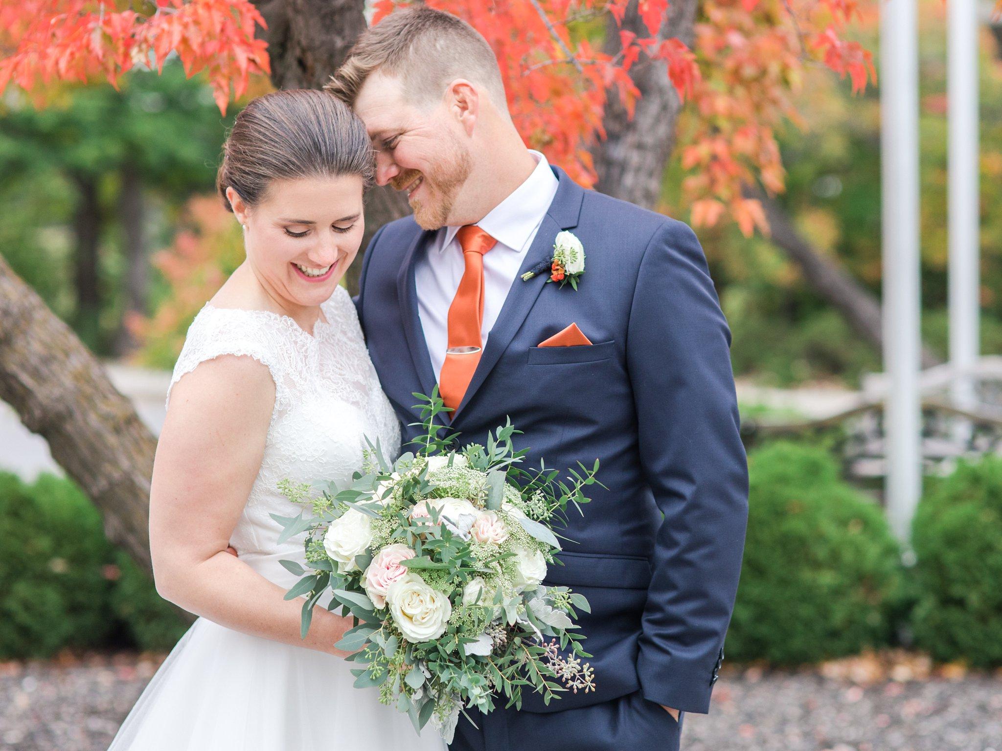 Bride and groom Fall Wedding Photos Ottawa Mill Street Brew Pub
