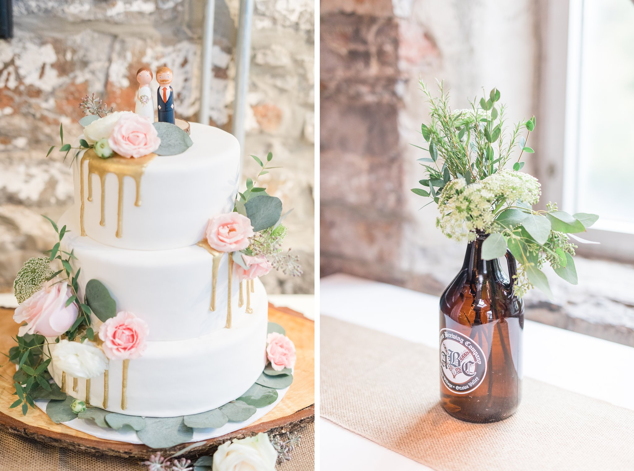 3 tiered drip cake with gold drip and fresh flowers Fall Wedding Photos Ottawa Mill Street Brew Pub