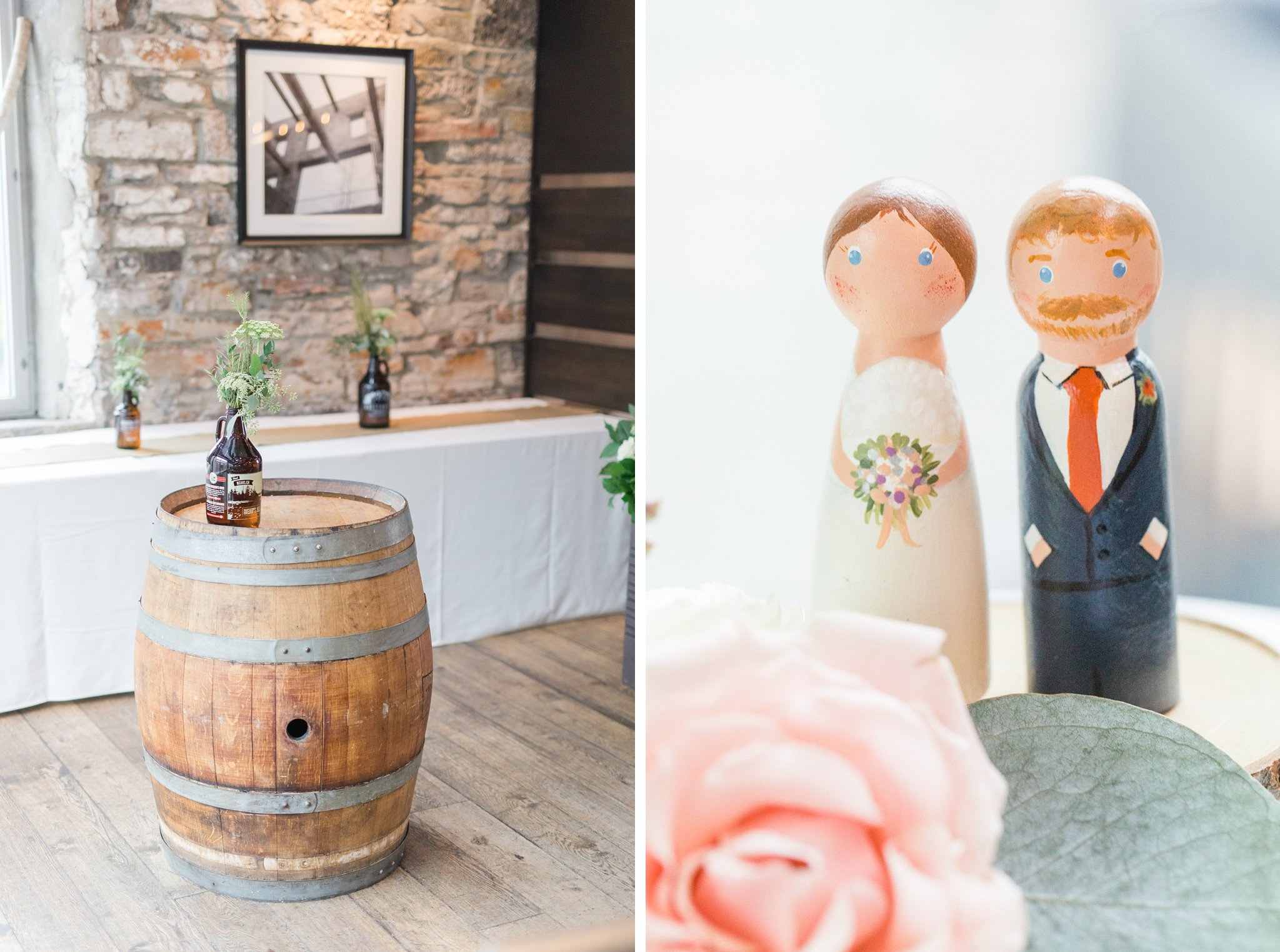 Custom wooden cake toppers that look like the bride and groom Fall Wedding Photos Ottawa Mill Street Brew Pub