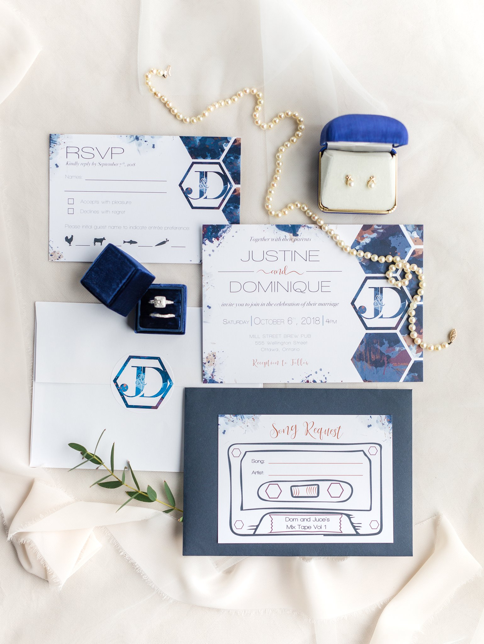 Custom wedding invitations with cassette tape song request sheet Fall Wedding Photos Ottawa Mill Street Brew Pub