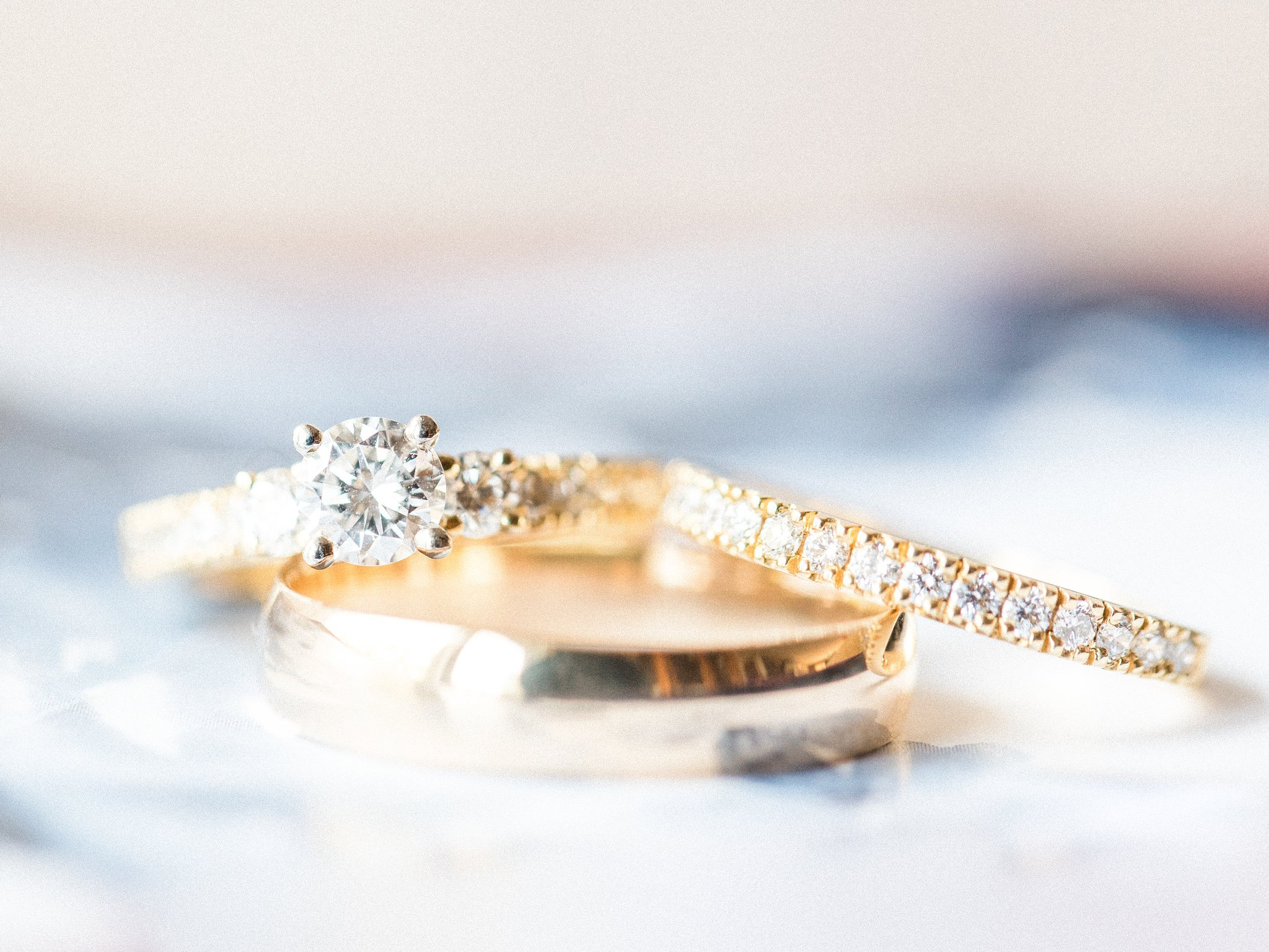 Yellow gold engagement ring and wedding band, Hilton Garden Inn Ottawa Airport Hotel Wedding