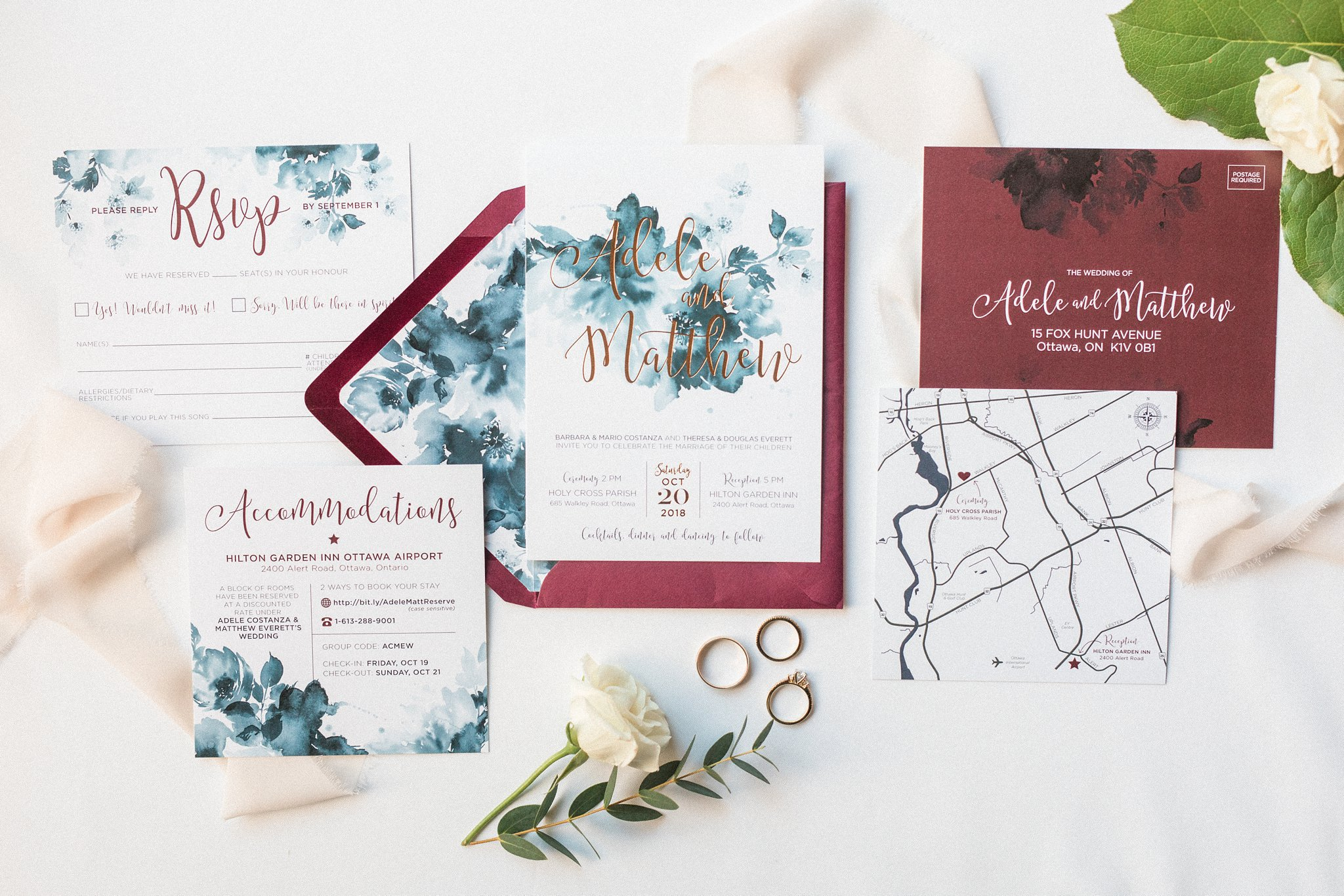 Wishtree Invitations and Design, Fall wedding invitation suite, Hilton Garden Inn Ottawa Airport Hotel Wedding