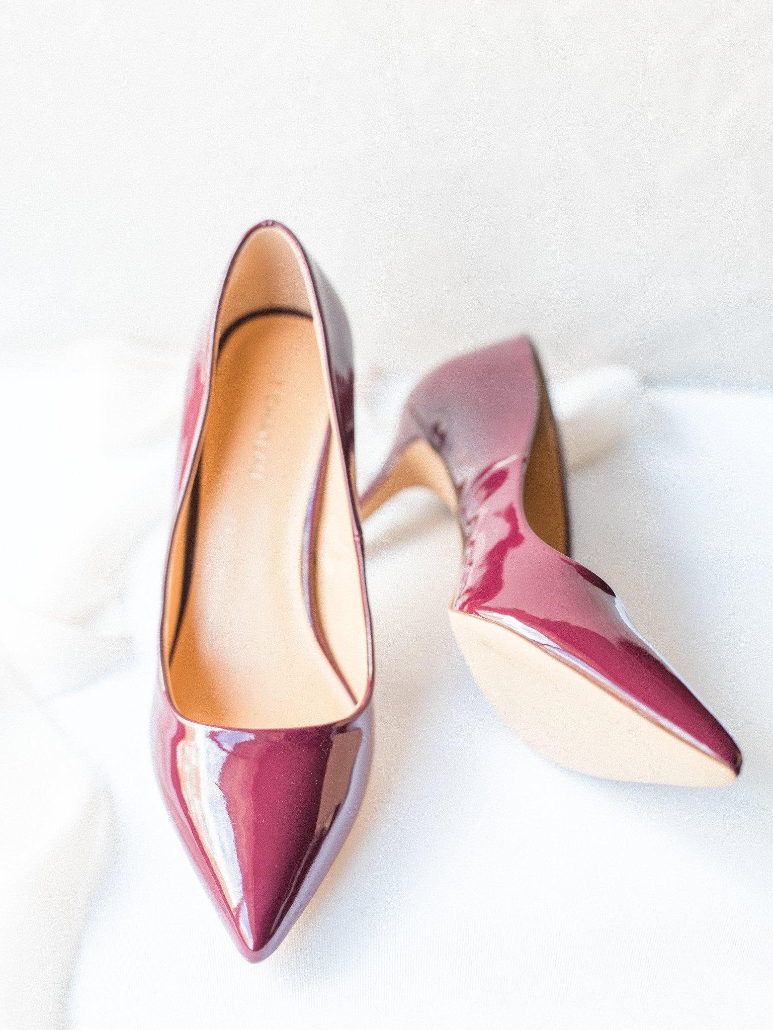 Burgundy marsala bridal heels Hilton Garden Inn Ottawa Airport Hotel Wedding
