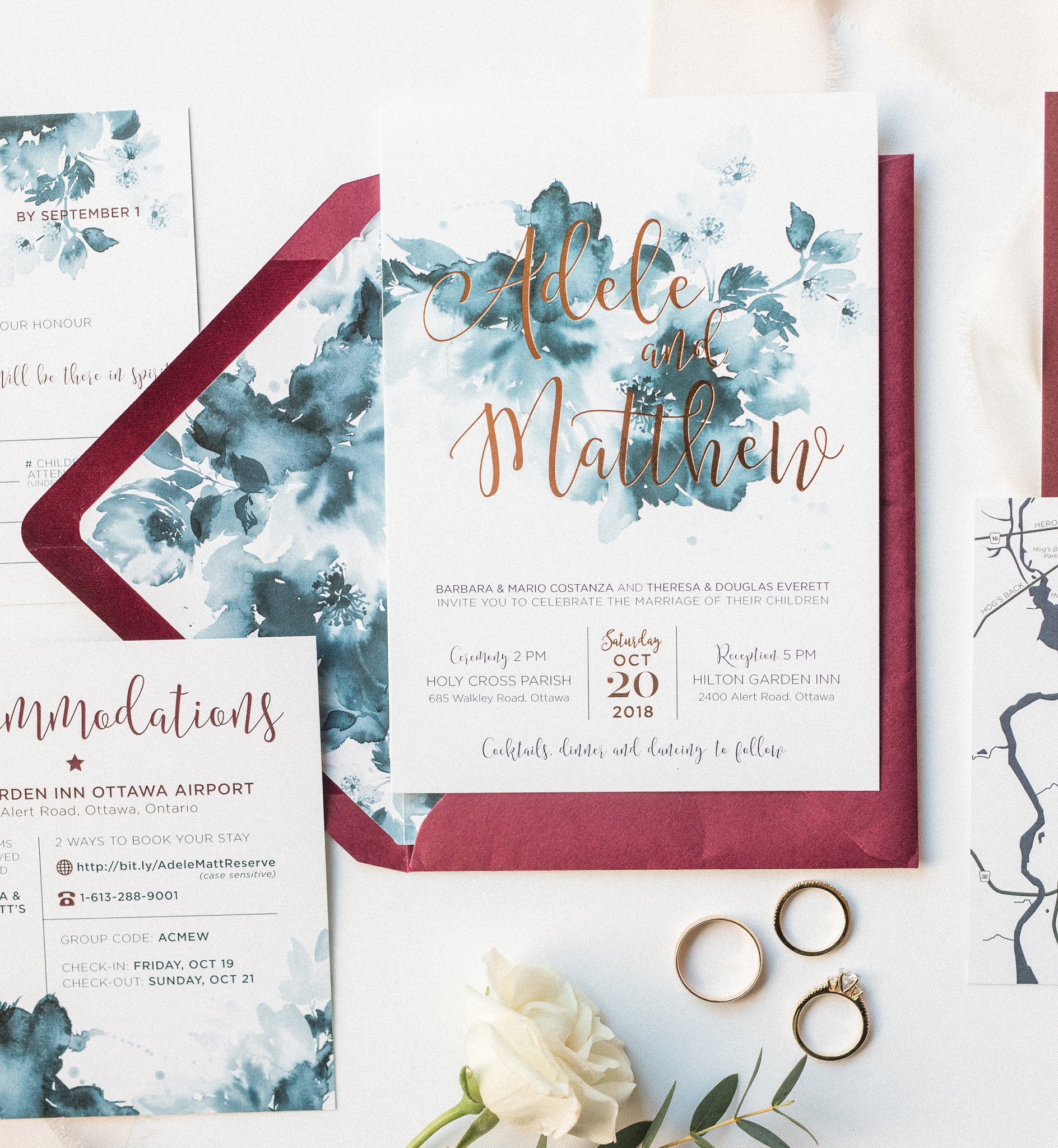 Wishtree Invites burgundy navy invitation suite, Hilton Garden Inn Ottawa Airport Hotel Wedding