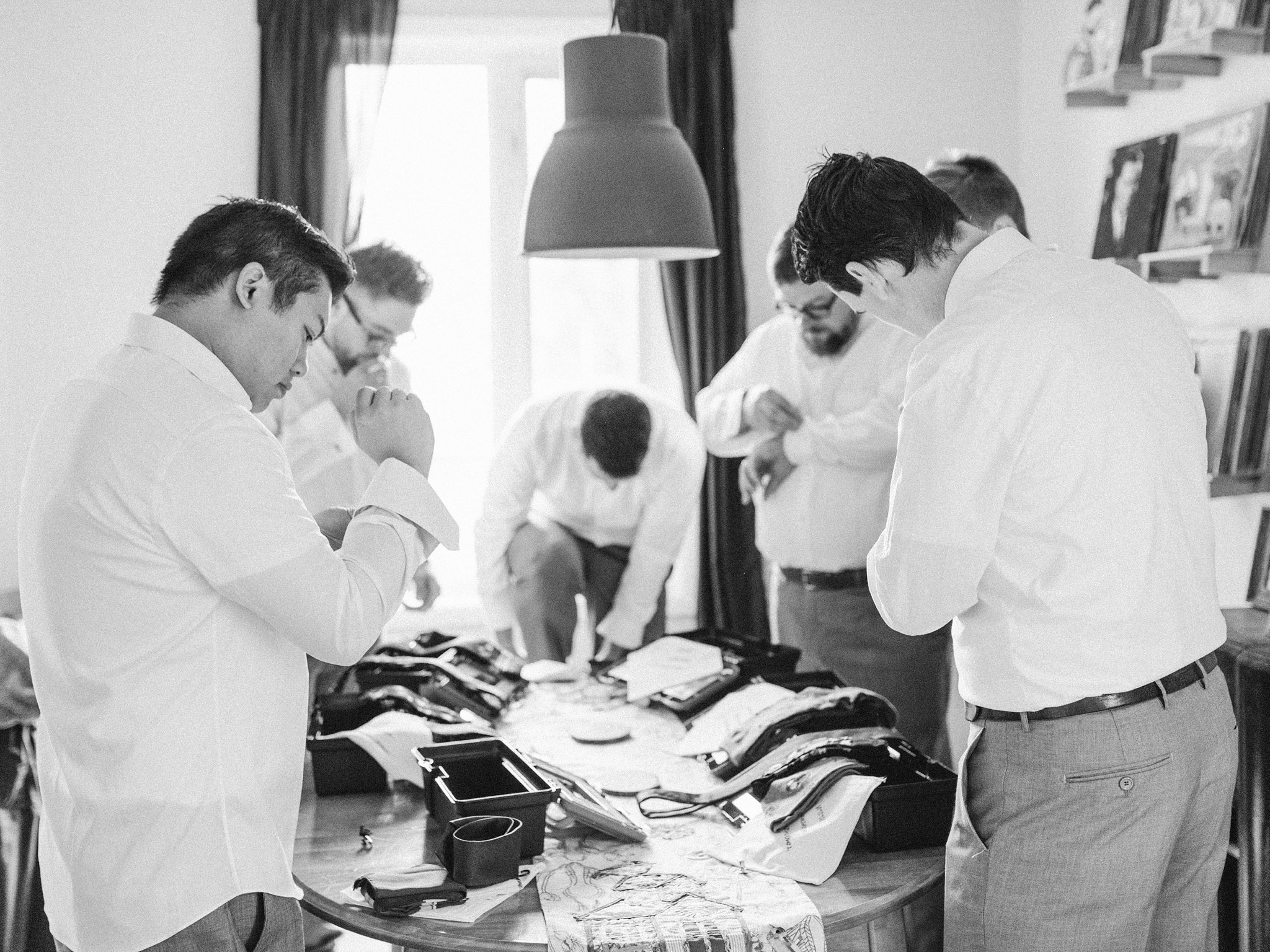Groom prep Hilton Garden Inn Ottawa Airport Hotel Wedding