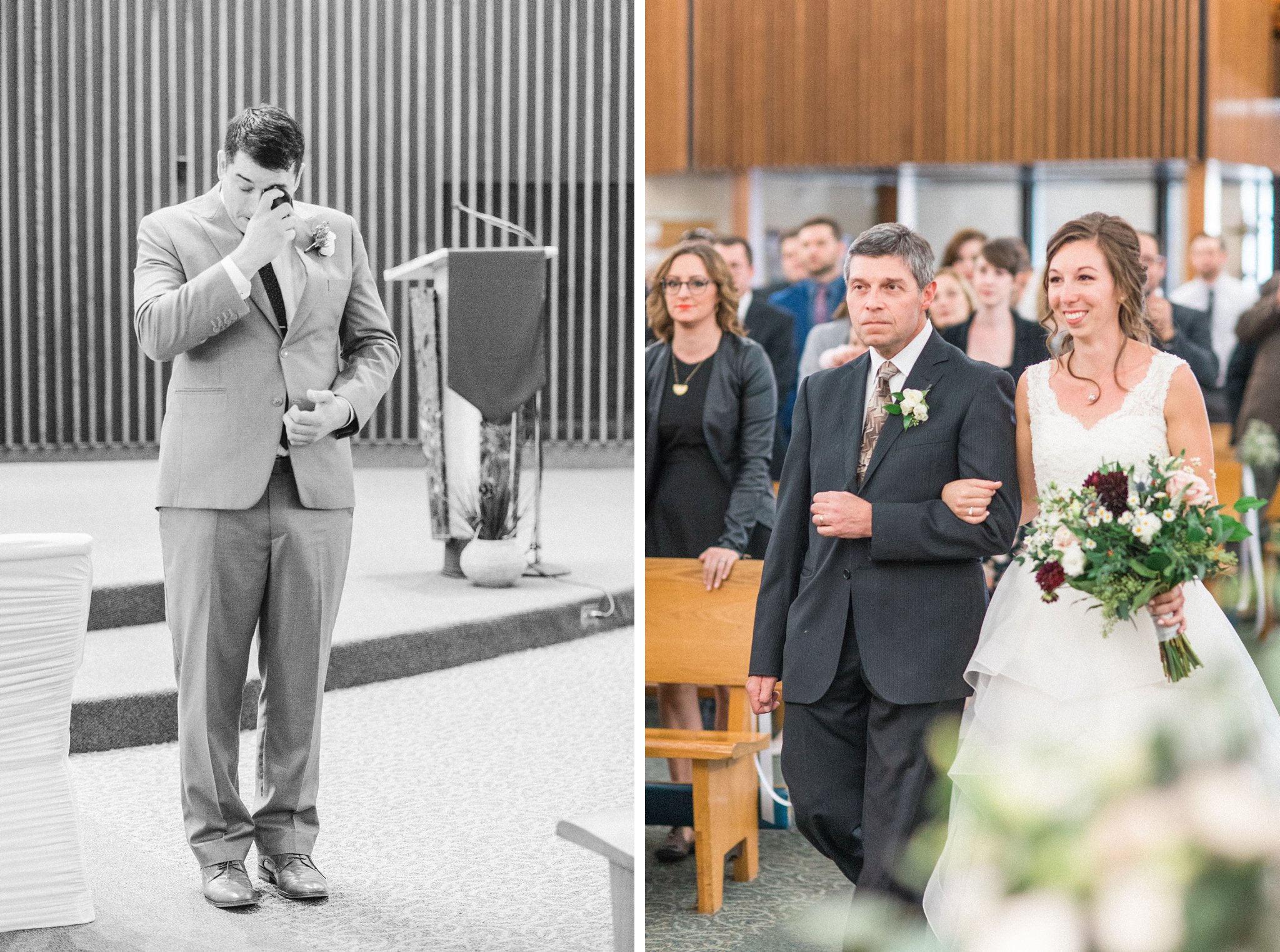 Emotional groom as bride walks down the aisle Hilton Garden Inn Ottawa Airport Hotel Wedding