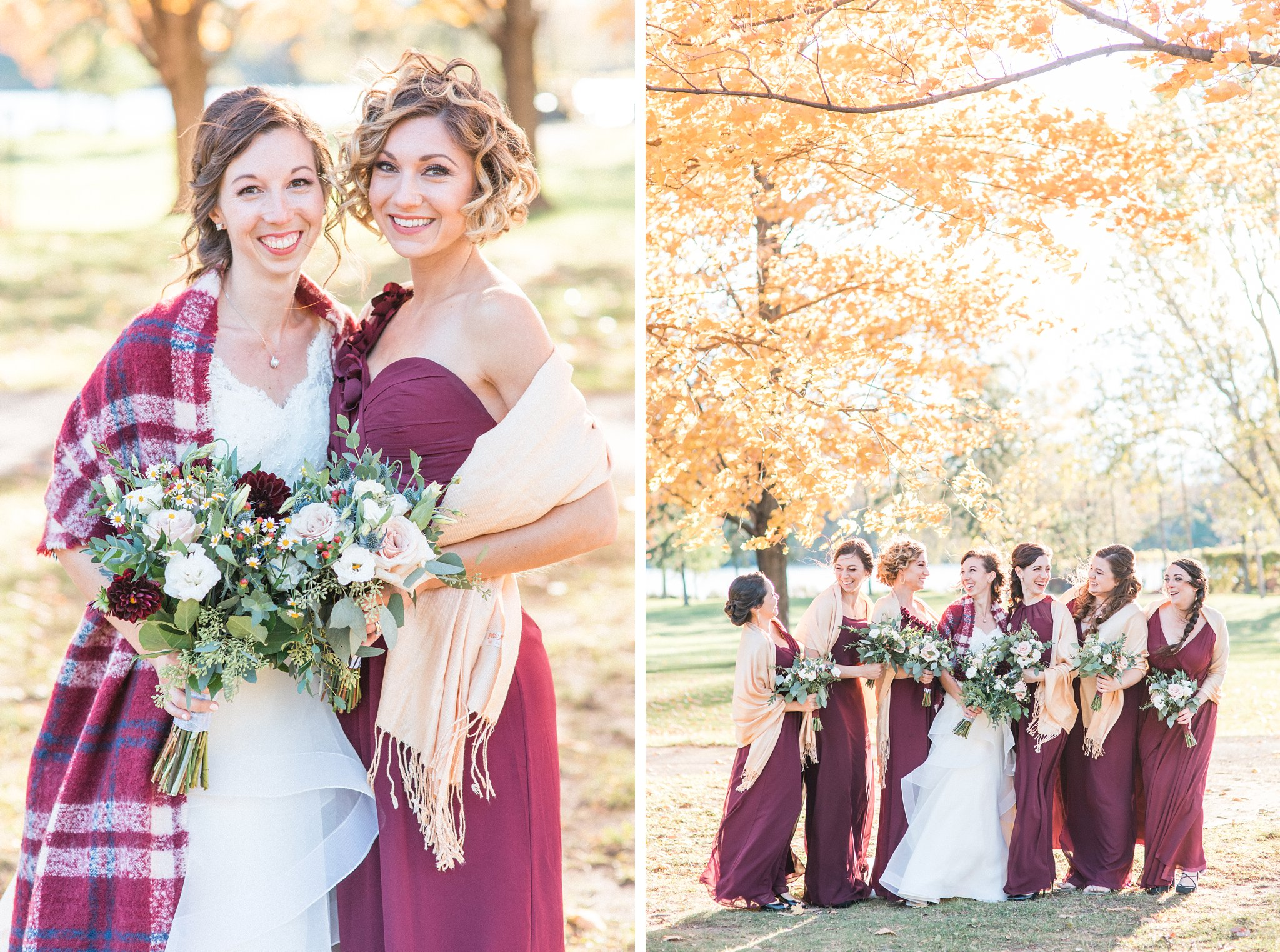 Fall trees and burgundy dresses, Hilton Garden Inn Ottawa Airport Hotel Wedding