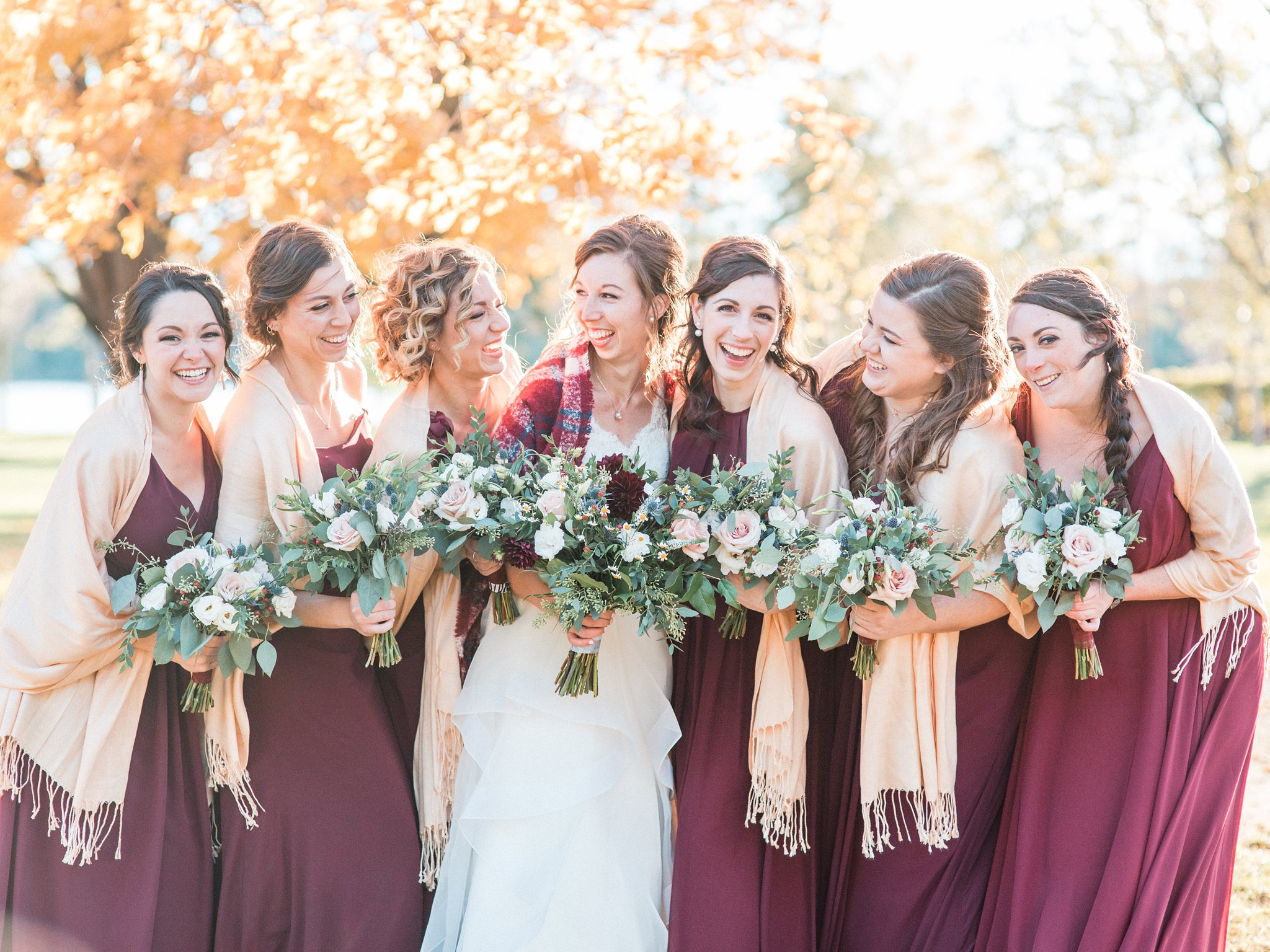 Burgundy bridesmaid dresses Hilton Garden Inn Ottawa Airport Hotel Wedding