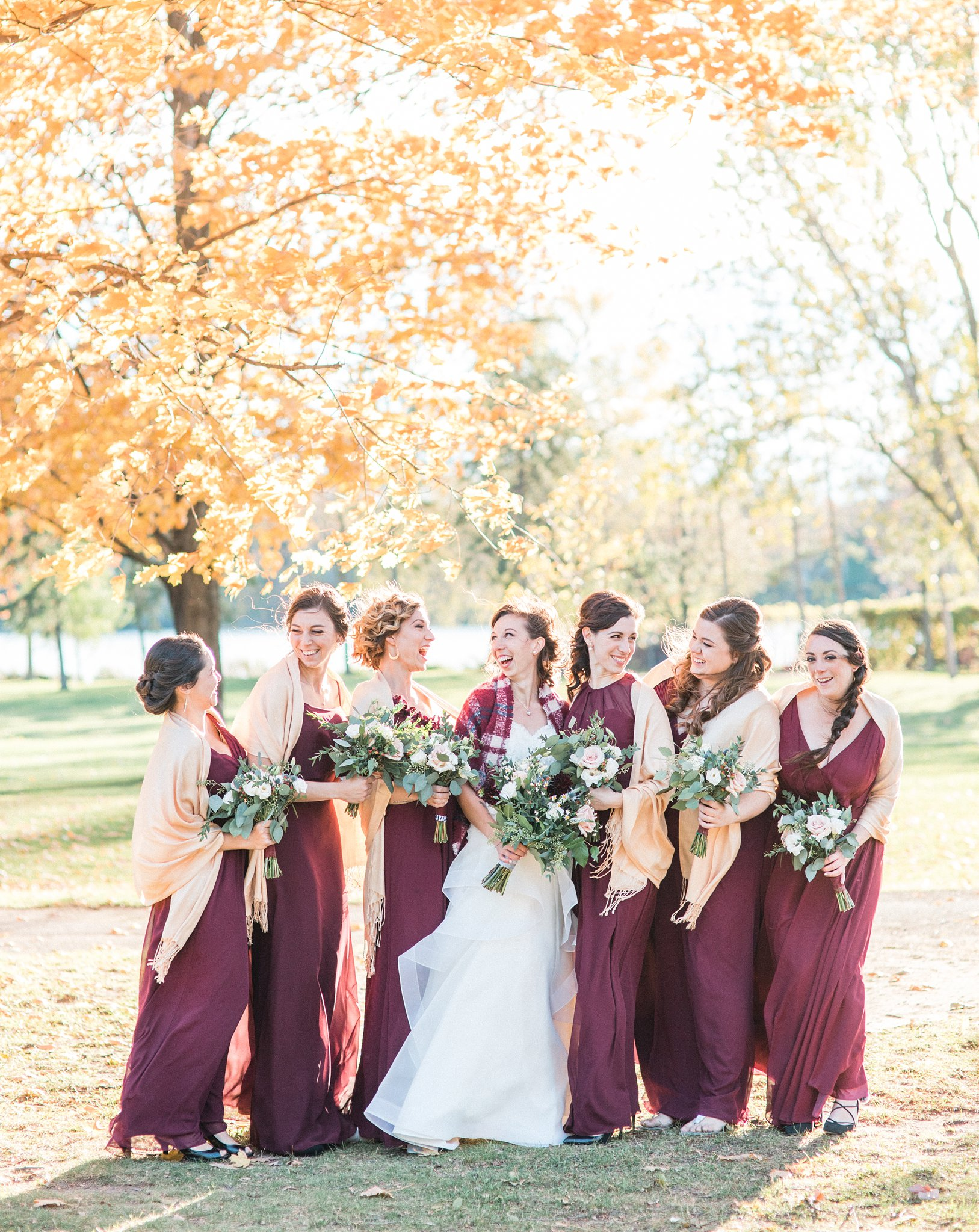 Fall bridal party colours, marsala, light peach shawl, Hilton Garden Inn Ottawa Airport Hotel Wedding