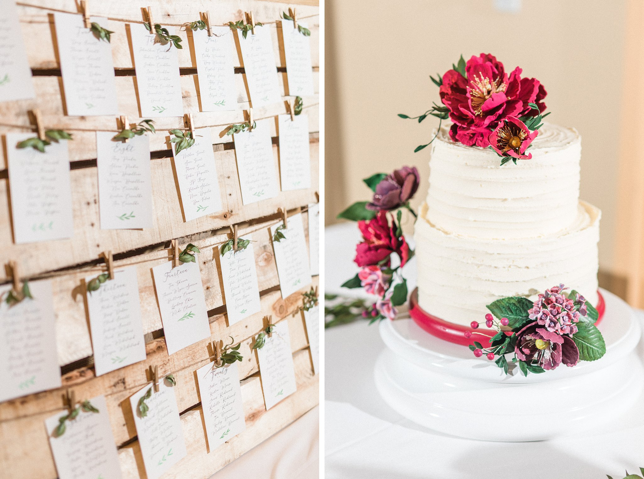 Seating chart and two-tiered white cake with burgundy flowers, Hilton Garden Inn Ottawa Airport Hotel Wedding