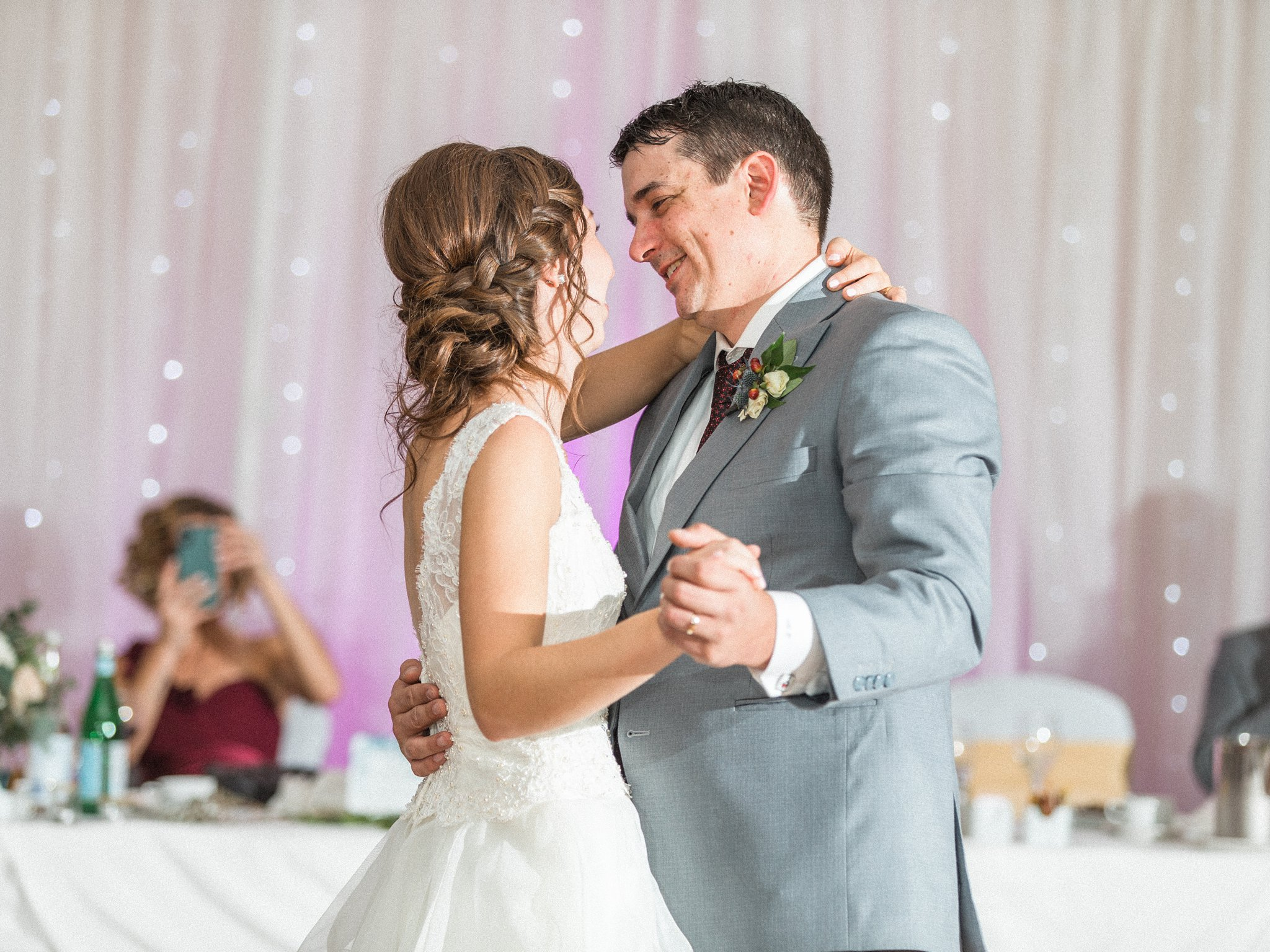 Bride and groom share a first dance, Hilton Garden Inn Ottawa Airport Hotel Wedding