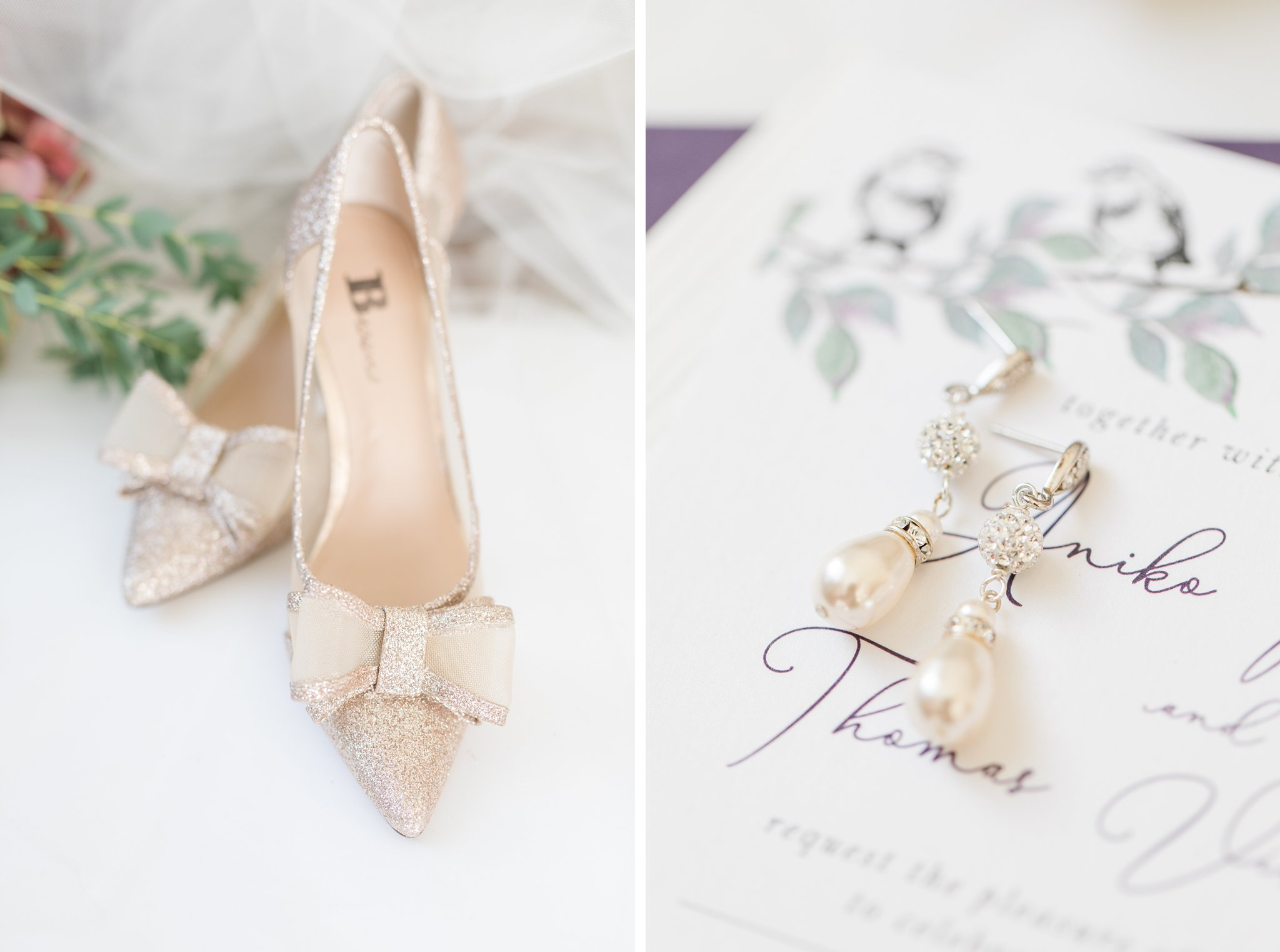 Tear drop pearl earrings with gold bow heels A Festive Fall Wedding at the Canadian Museum of Nature