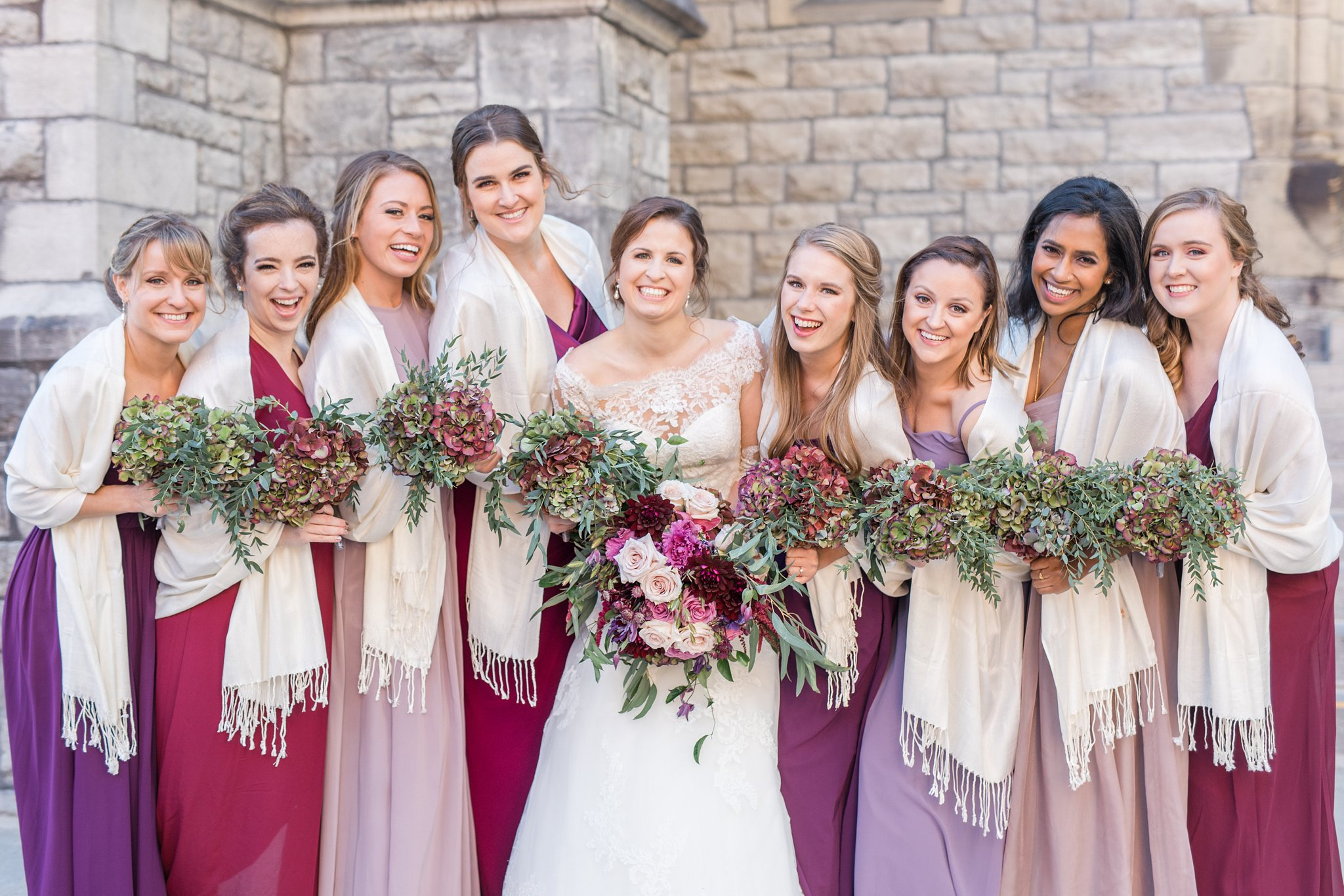 Bridal party A Festive Fall Wedding at the Canadian Museum of Nature