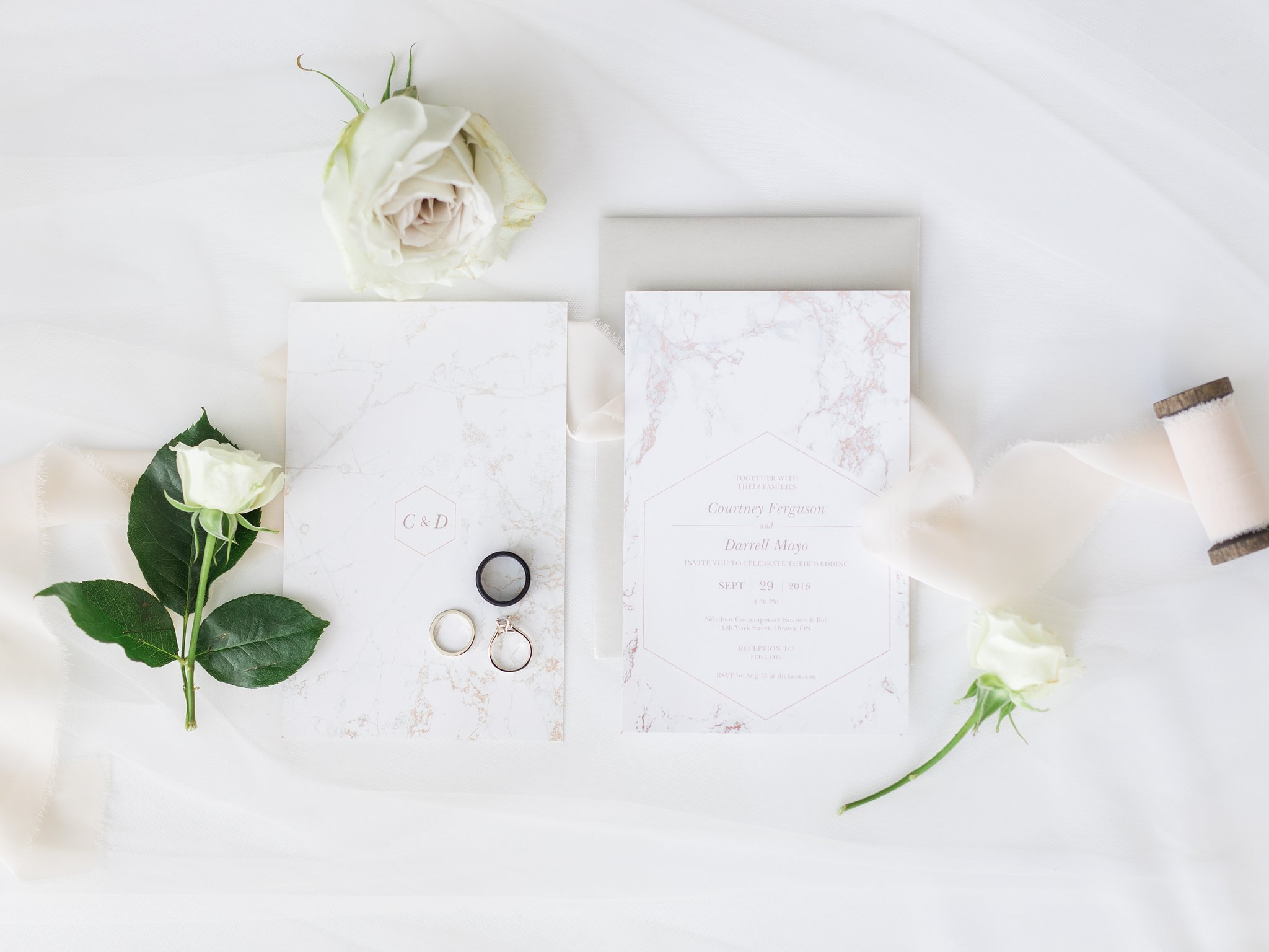 Vistaprint marble wedding invitations Ottawa restaurant wedding at Sidedoor Restaurant