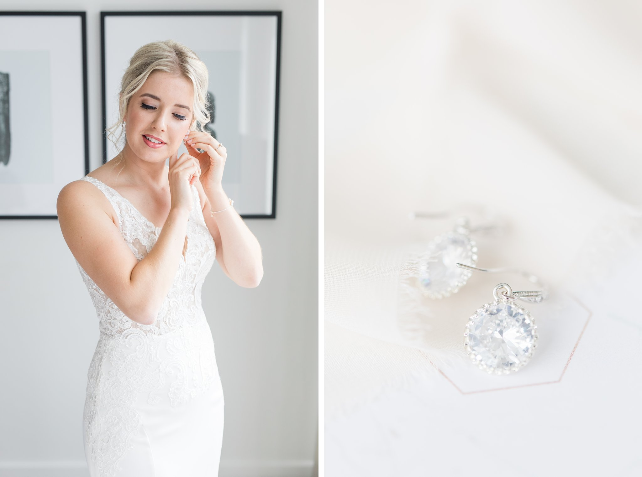 Sarah walsh bridal earrings Ottawa restaurant wedding at Sidedoor Restaurant