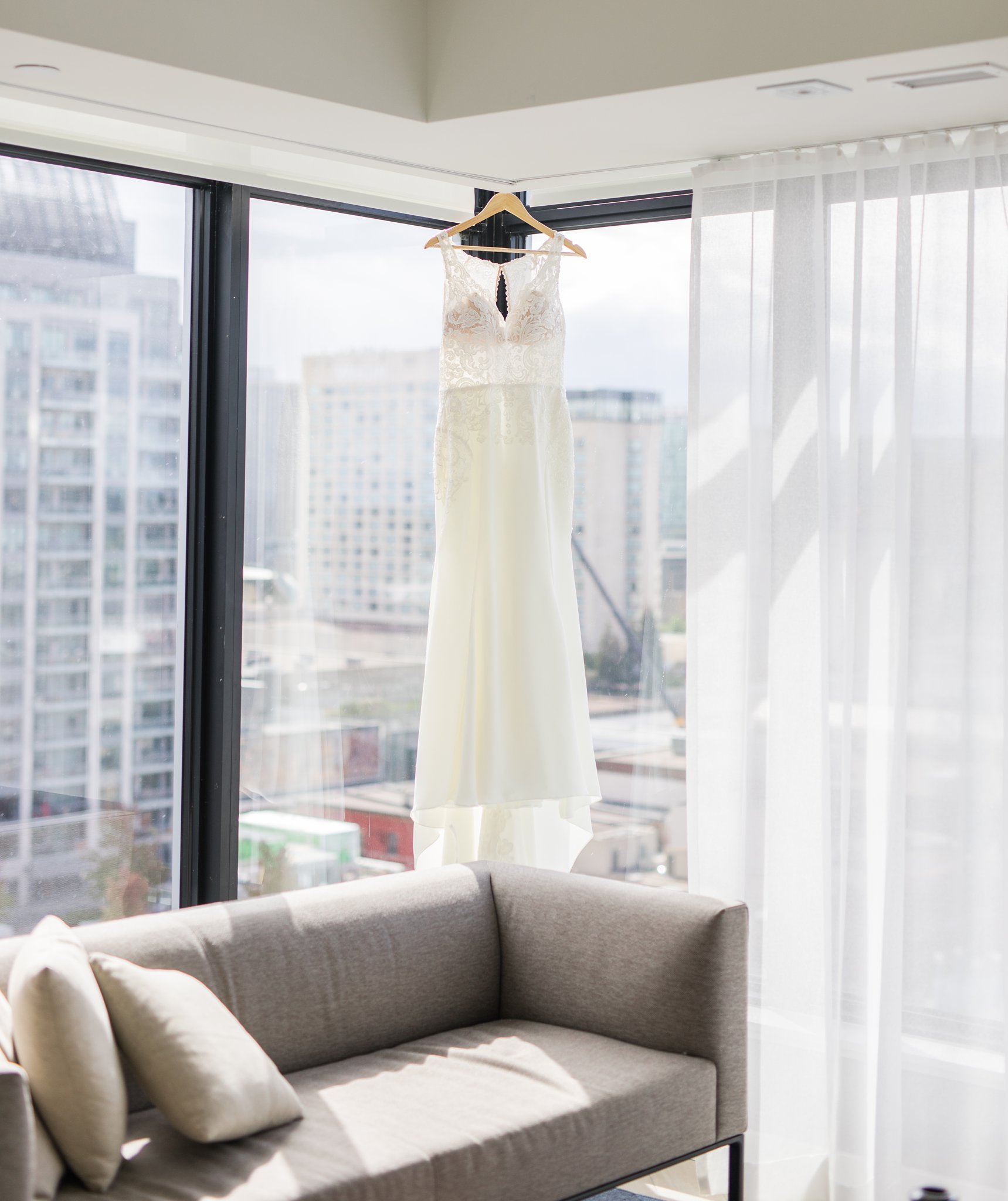 Essence of Australia sheer midriff dress Ottawa restaurant wedding at Sidedoor Restaurant