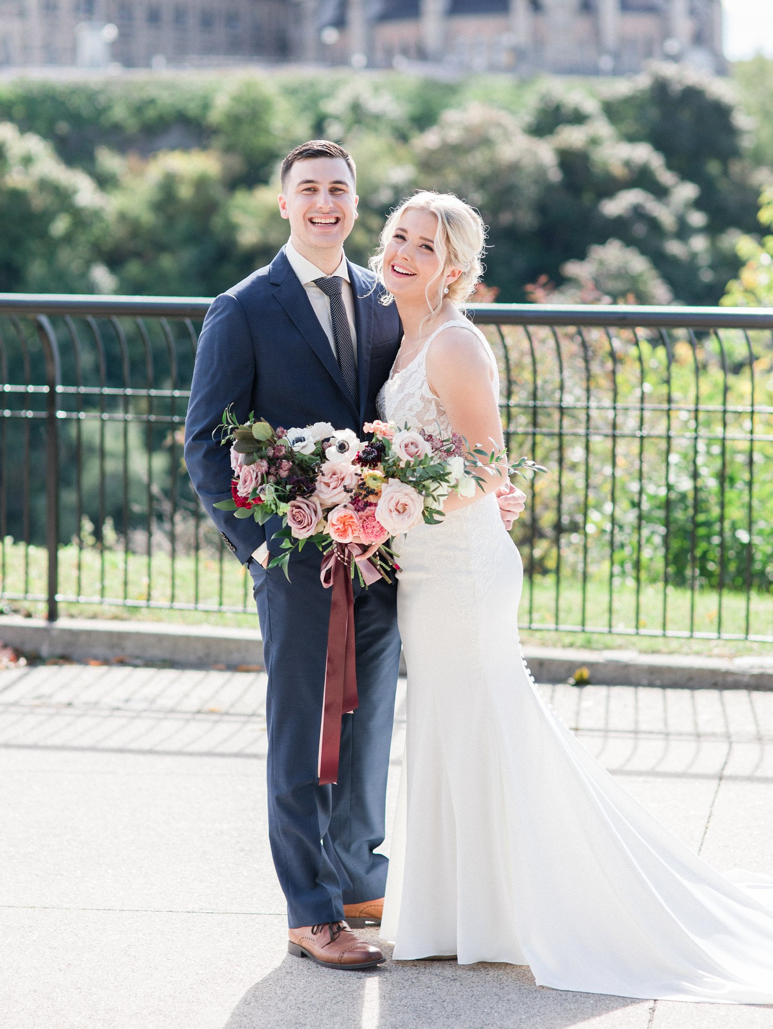 Bride and groom portraits Major's Hill Park Ottawa restaurant wedding at Sidedoor Restaurant