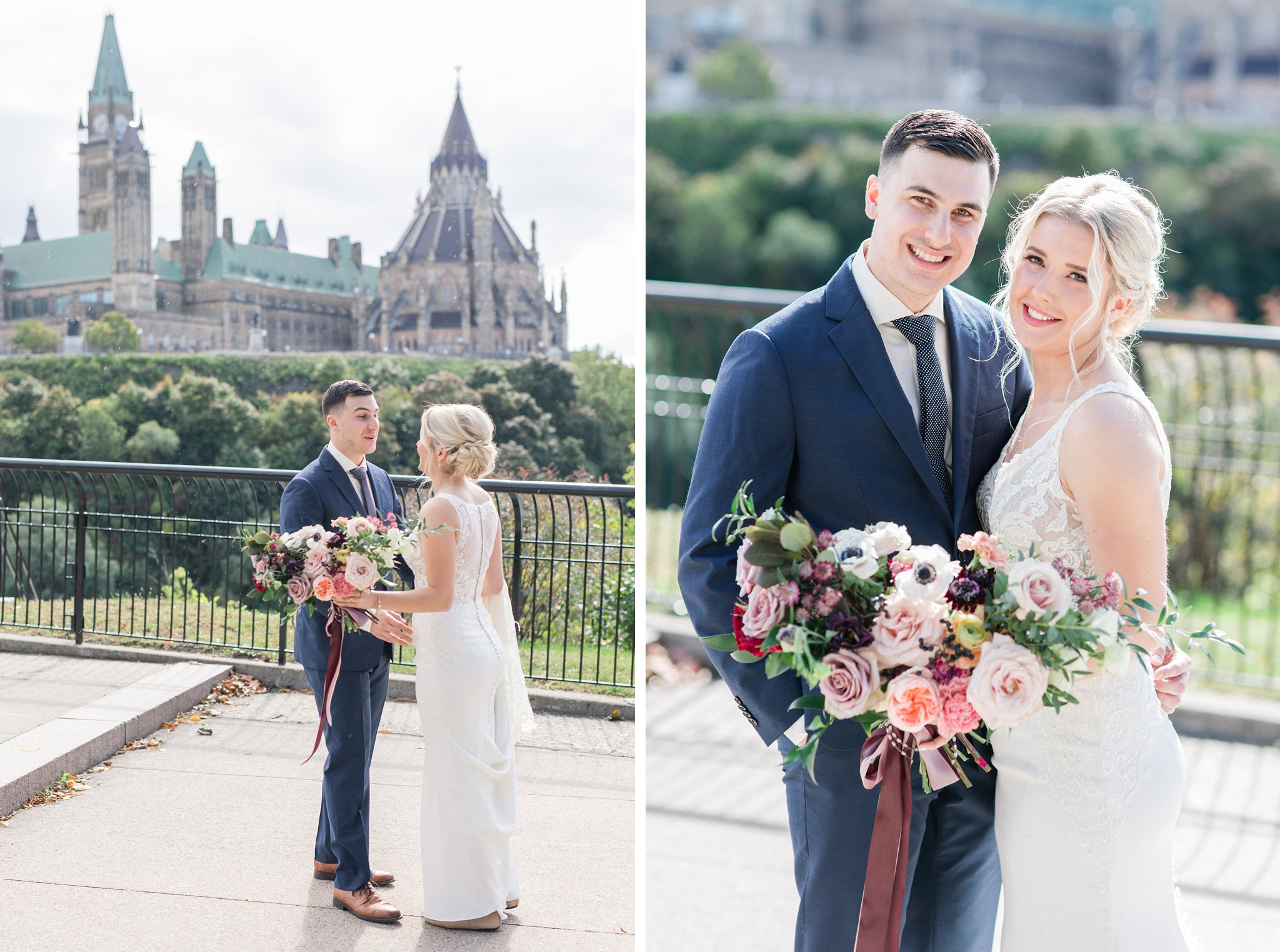 Parliament background first look at Major's Hill Ottawa restaurant wedding at Sidedoor Restaurant