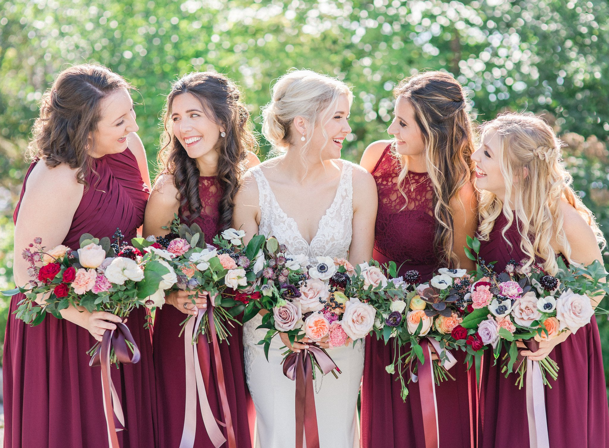Cranberry bridal party in fall Ottawa restaurant wedding at Sidedoor Restaurant