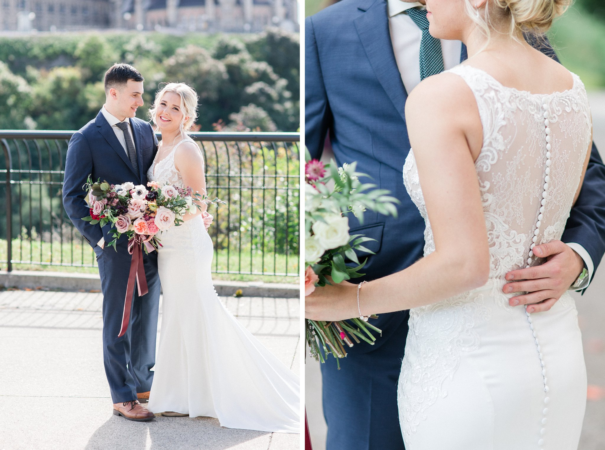 Illusion back wedding dress with satin buttons With Love Bridal Ottawa restaurant wedding at Sidedoor Restaurant