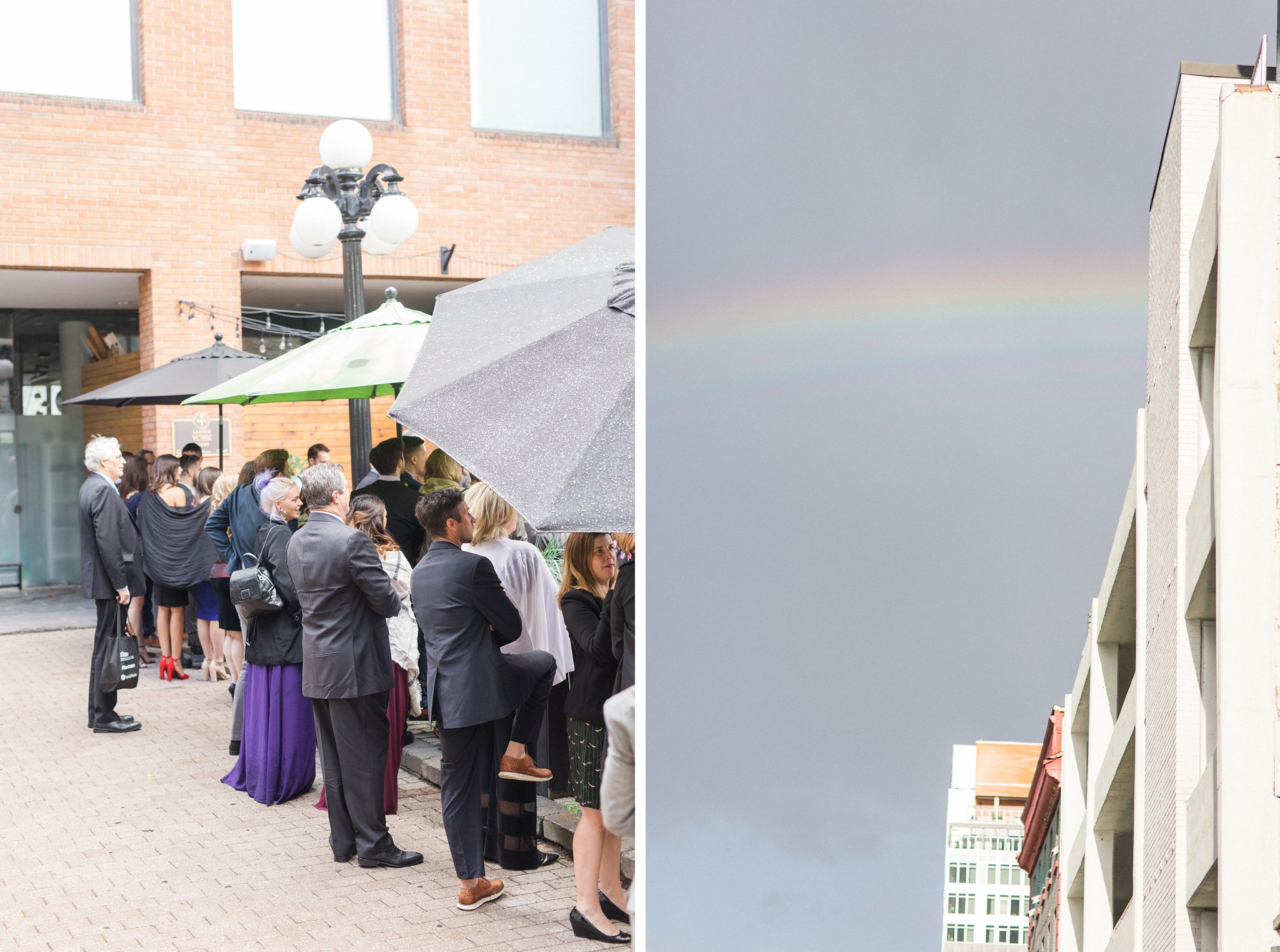 Rainbow during ceremony Ottawa restaurant wedding at Sidedoor Restaurant