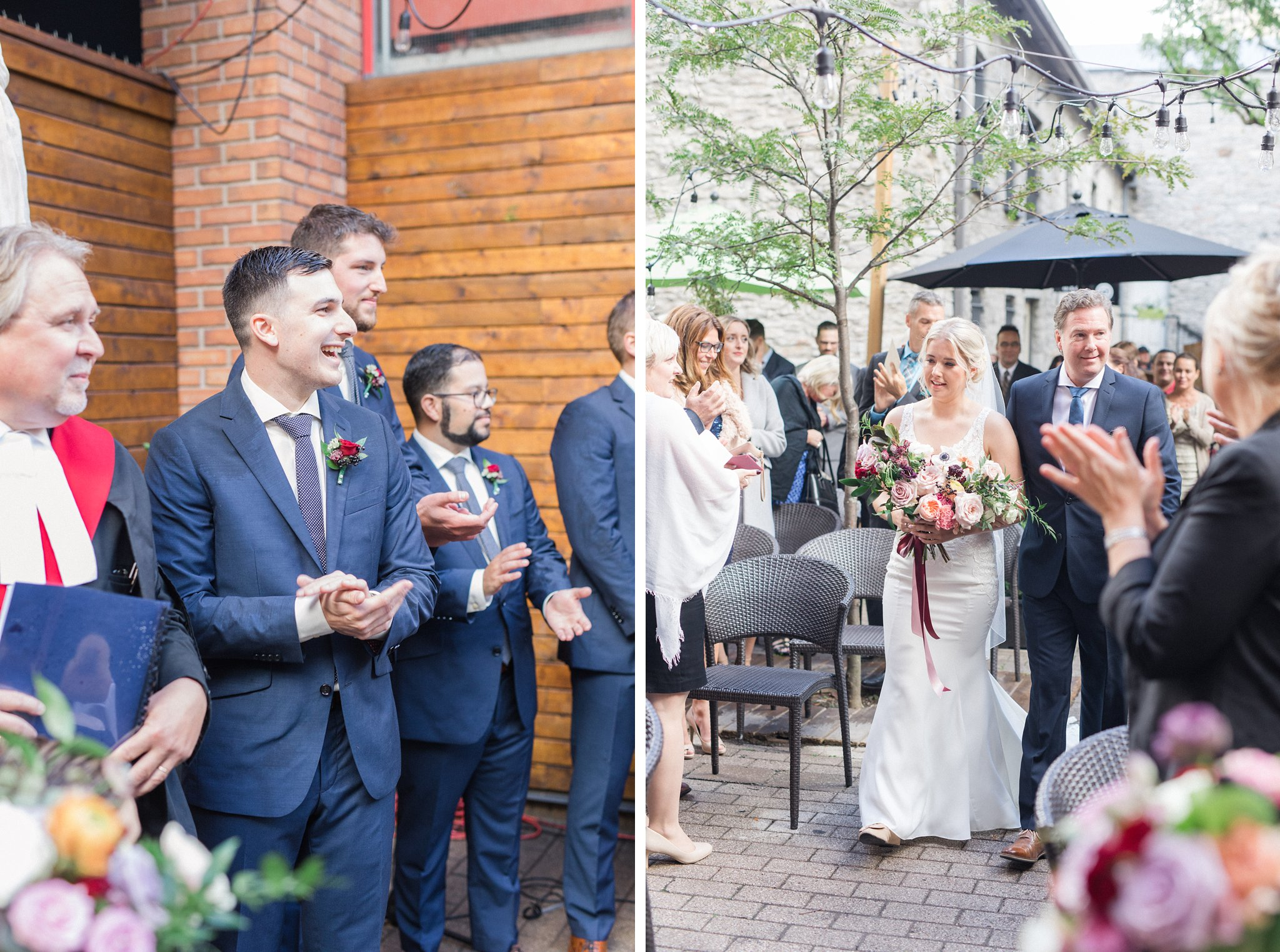 Ceremony processional Ottawa restaurant wedding at Sidedoor Restaurant