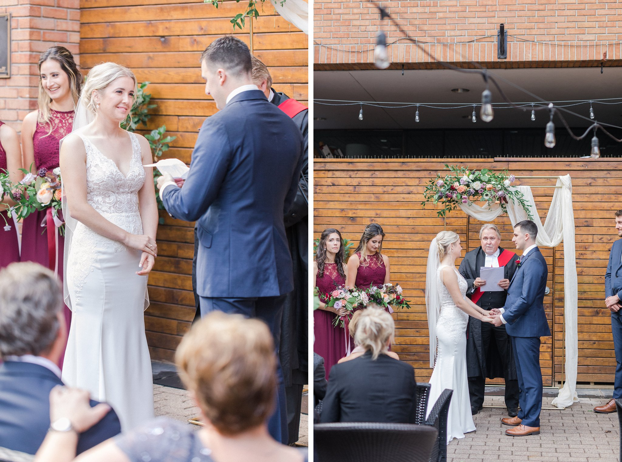 ceremony Ottawa restaurant wedding at Sidedoor Restaurant
