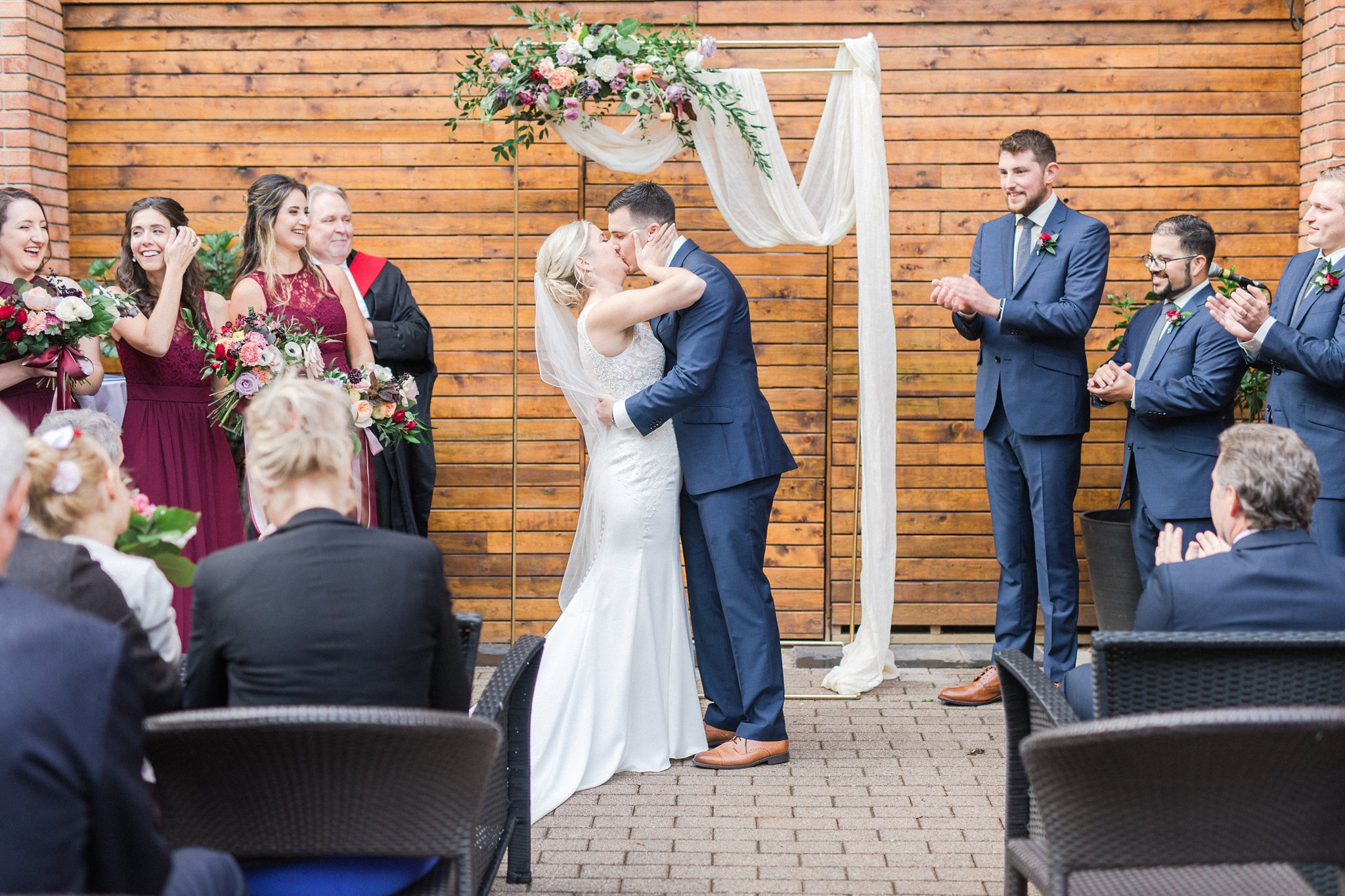 First kiss Ottawa restaurant wedding at Sidedoor Restaurant