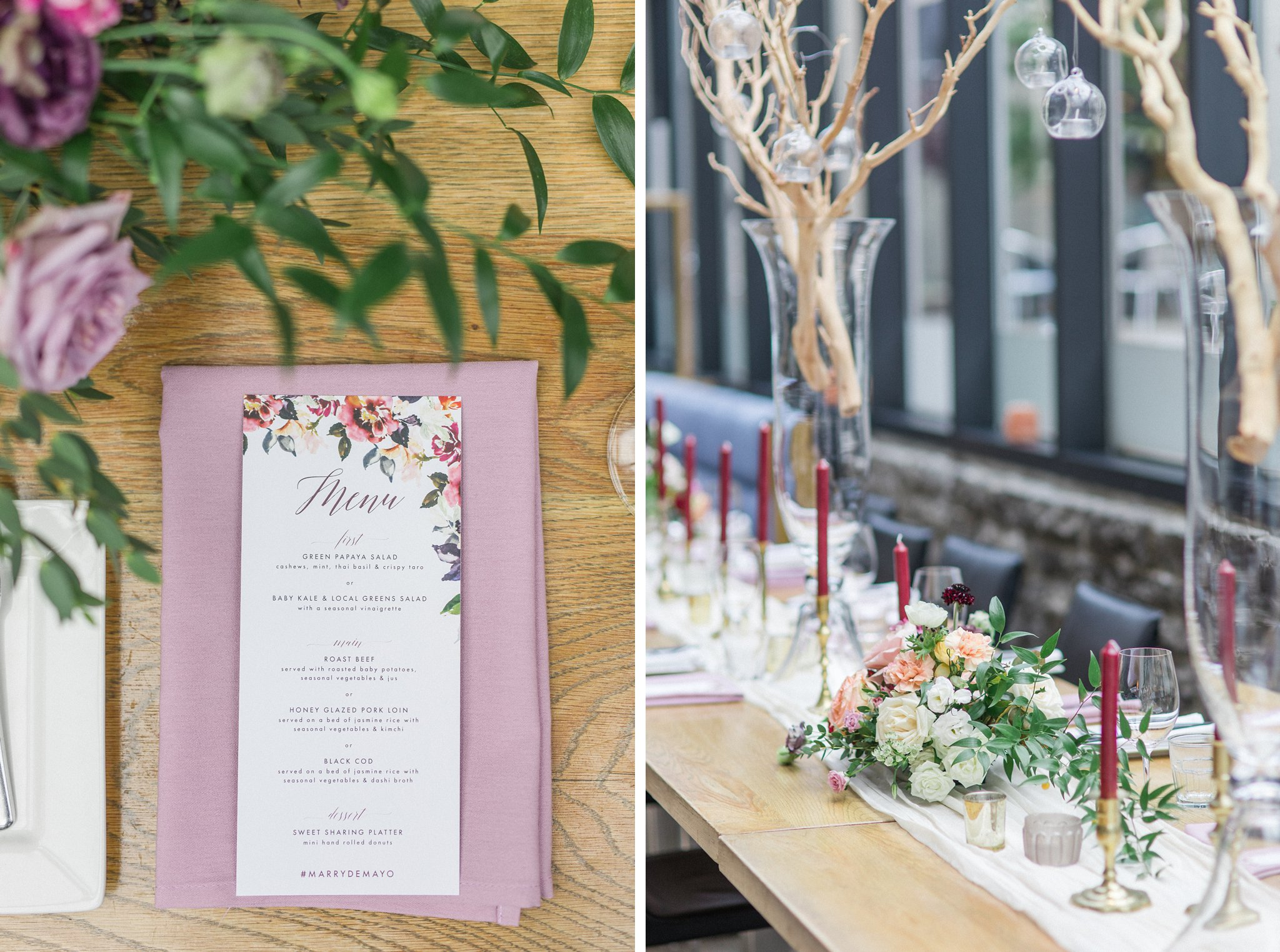 Cranberry candlesticks and custom menu Ottawa restaurant wedding at Sidedoor Restaurant