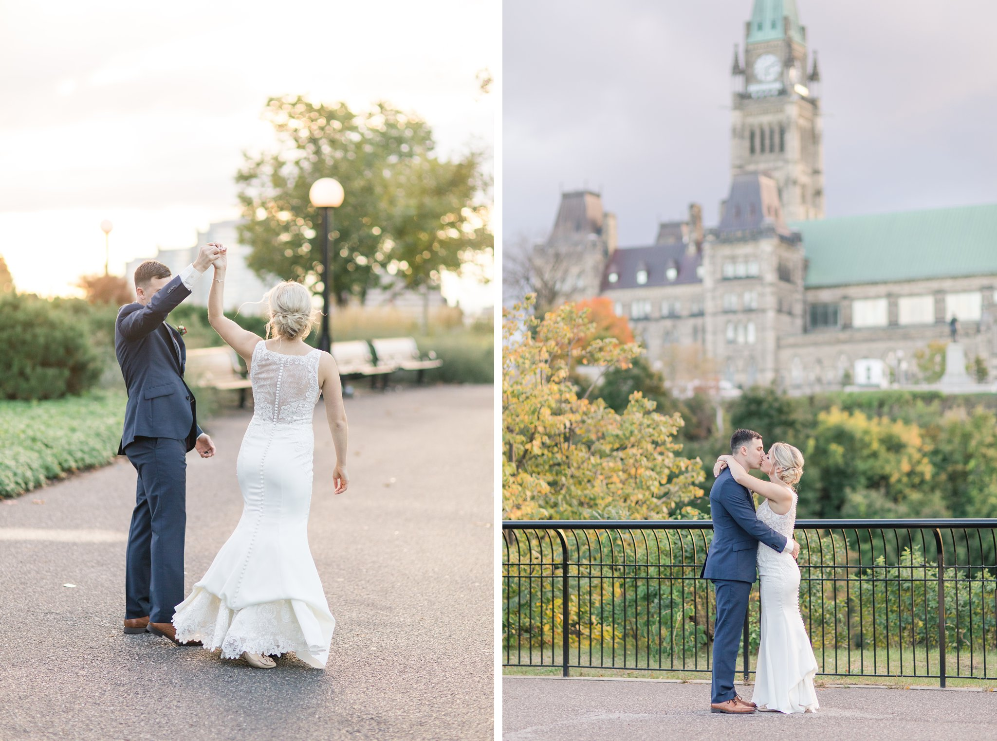 Sunset photos at the Peace Tower Ottawa restaurant wedding at Sidedoor Restaurant