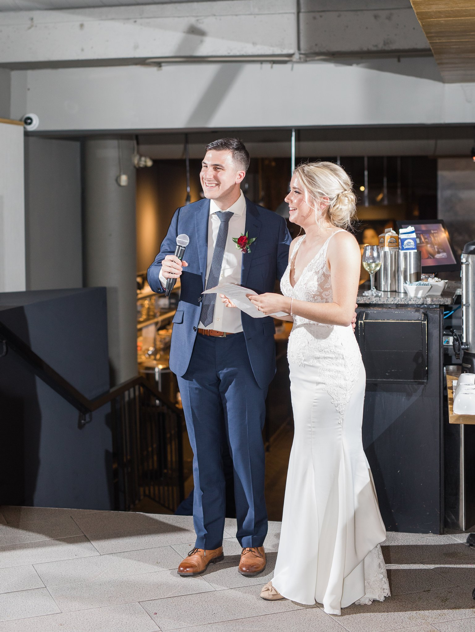 Bride and groom speech Ottawa restaurant wedding at Sidedoor Restaurant
