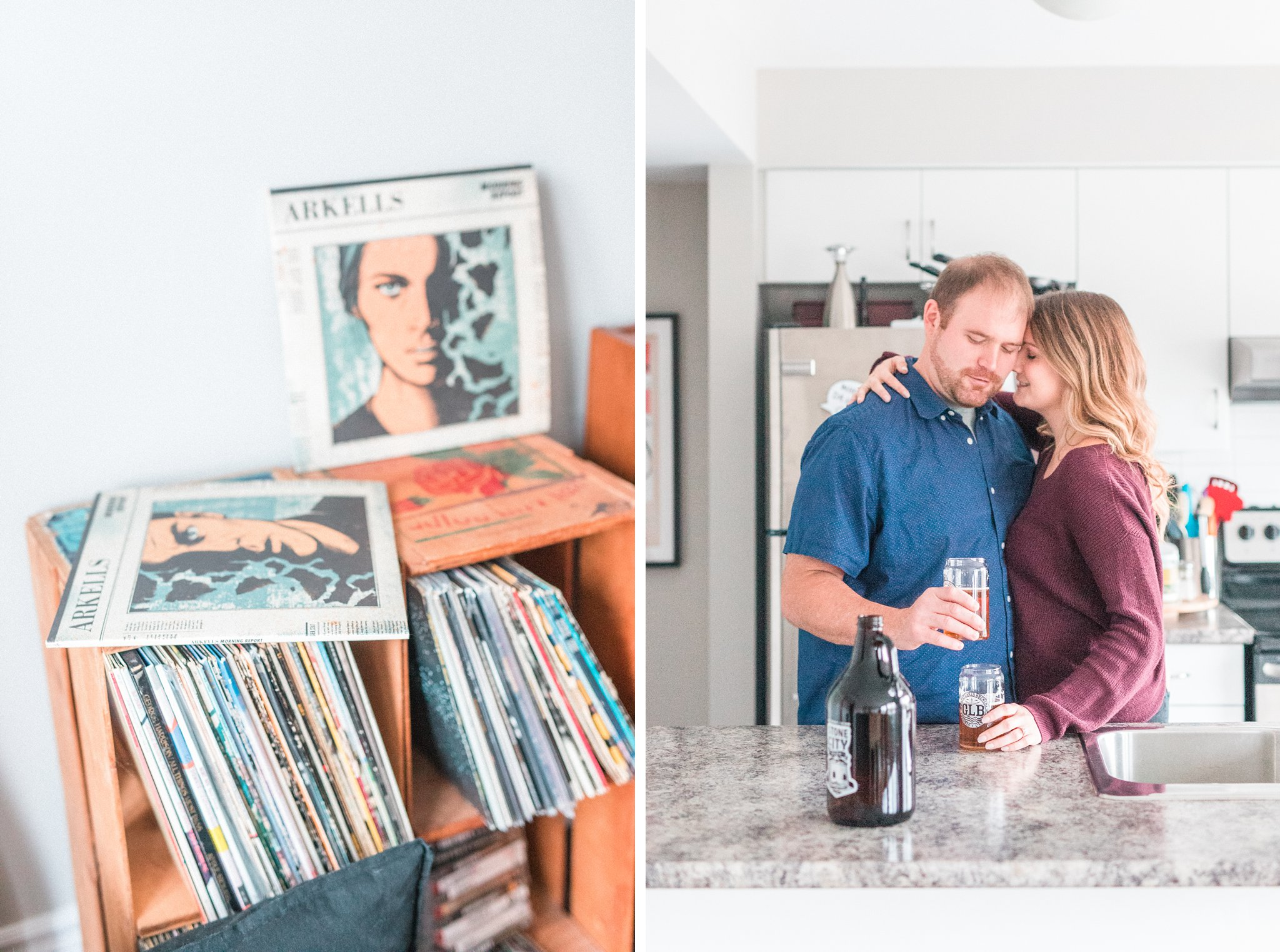 Record player, lifestyle engagement photos at home, Hogs Back Ottawa engagement photos