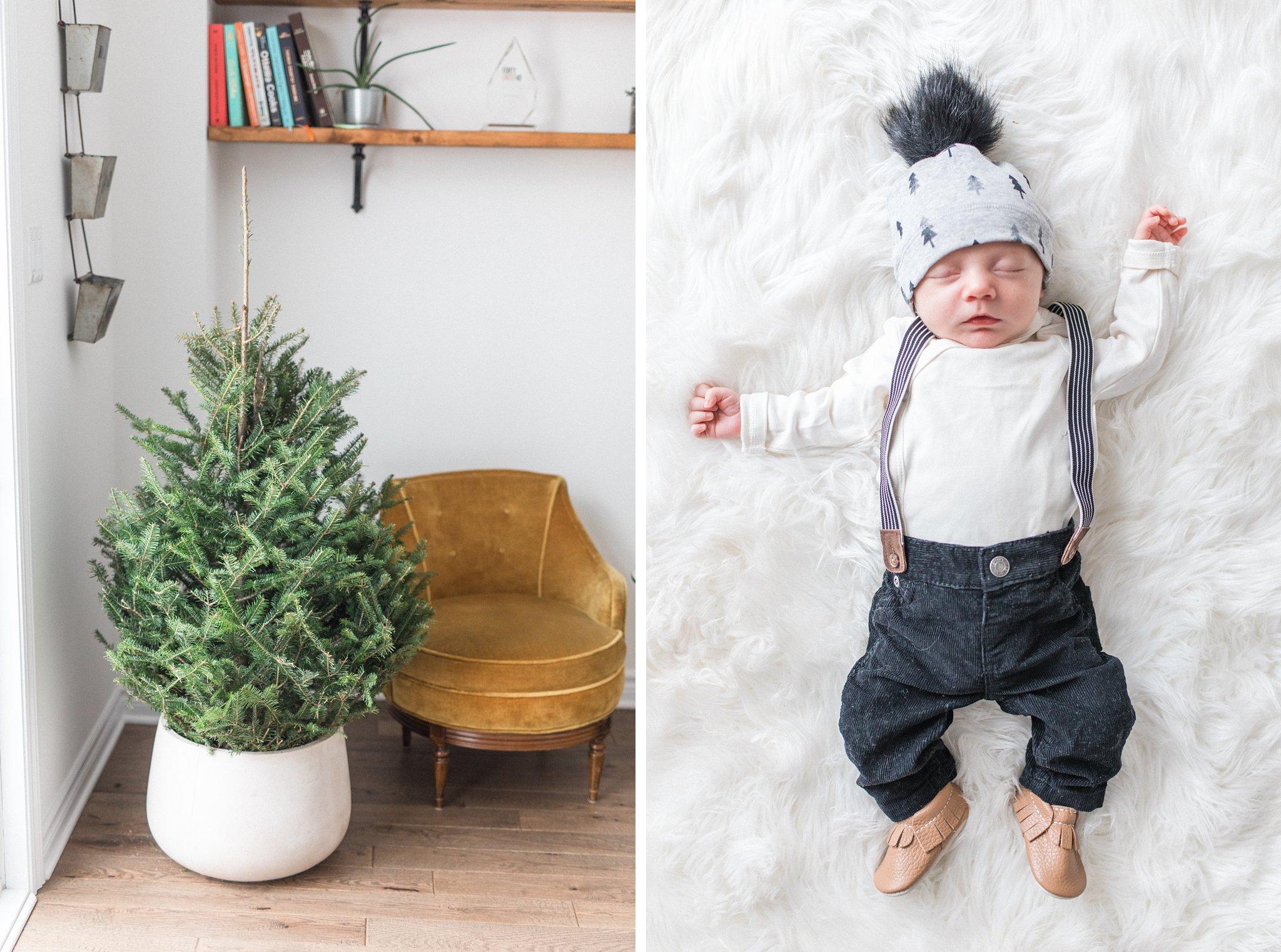 Suspender newborn outfit, Festive Newborn Lifestyle Photos During the Christmas Holidays