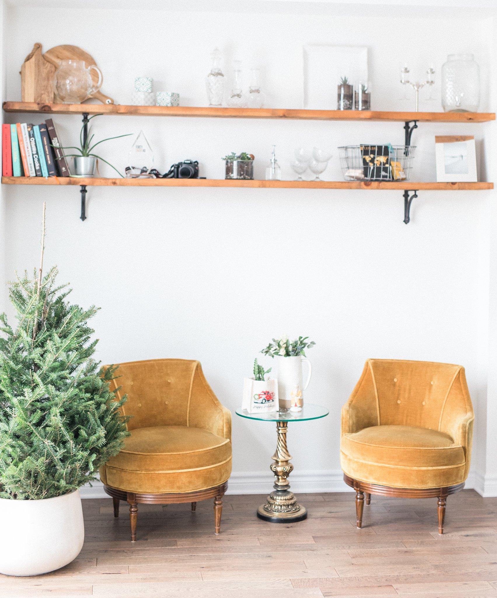 Vintage yellow velvet chairs, Festive Newborn Lifestyle Photos During the Christmas Holidays